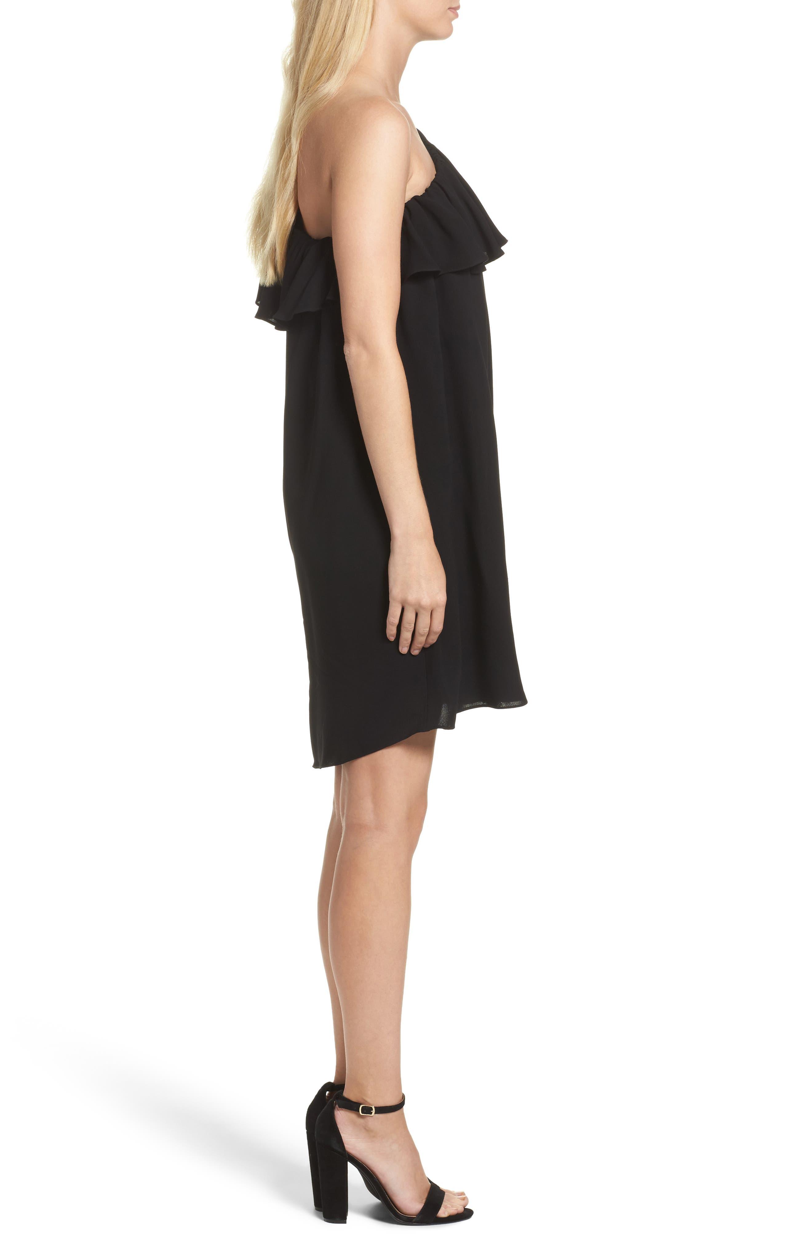 Evening Dew One-Shoulder Dress,                             Alternate thumbnail 3, color,                             Black
