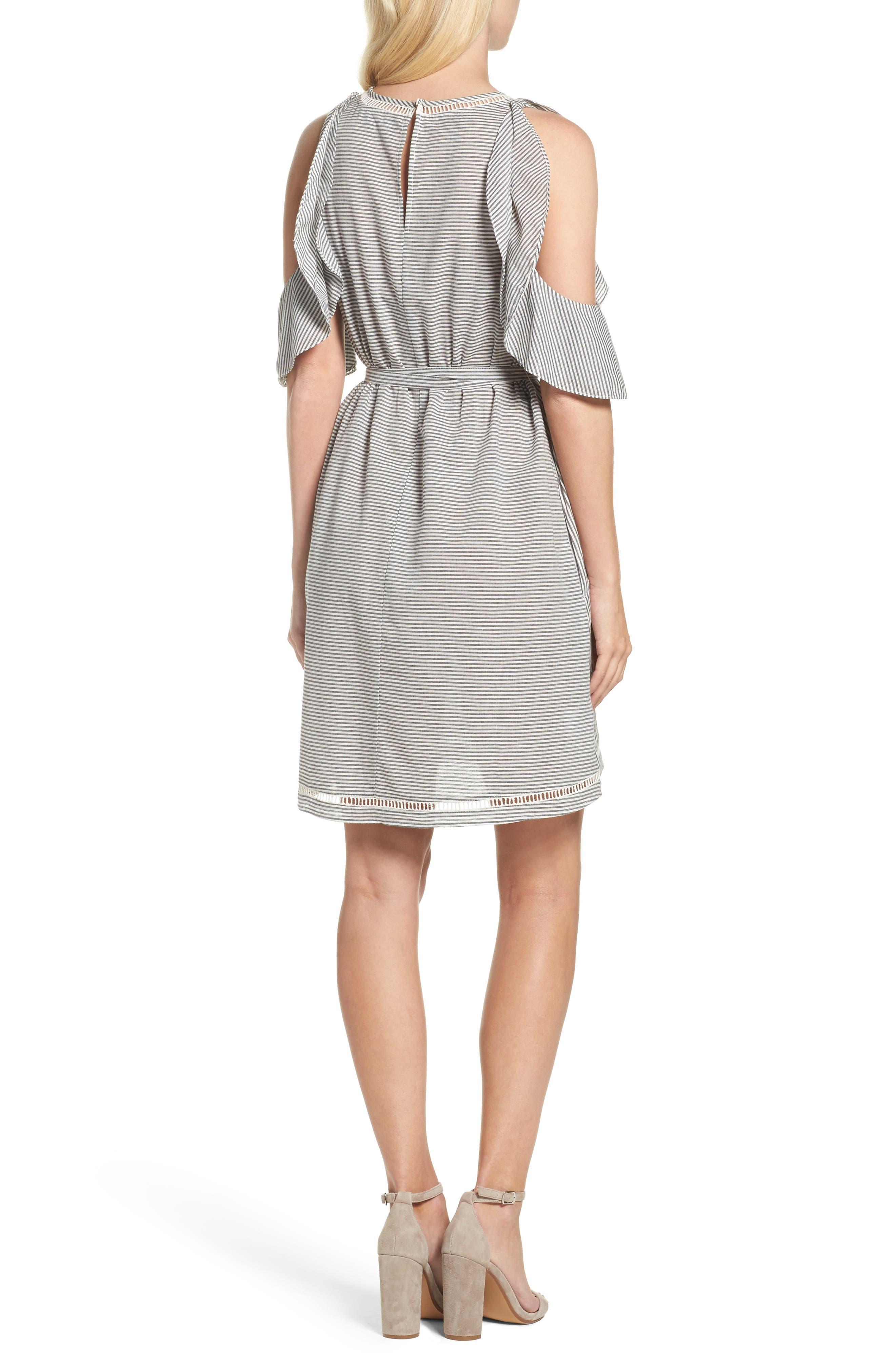 Clea Cold Shoulder Dress,                             Alternate thumbnail 2, color,                             Black/ White