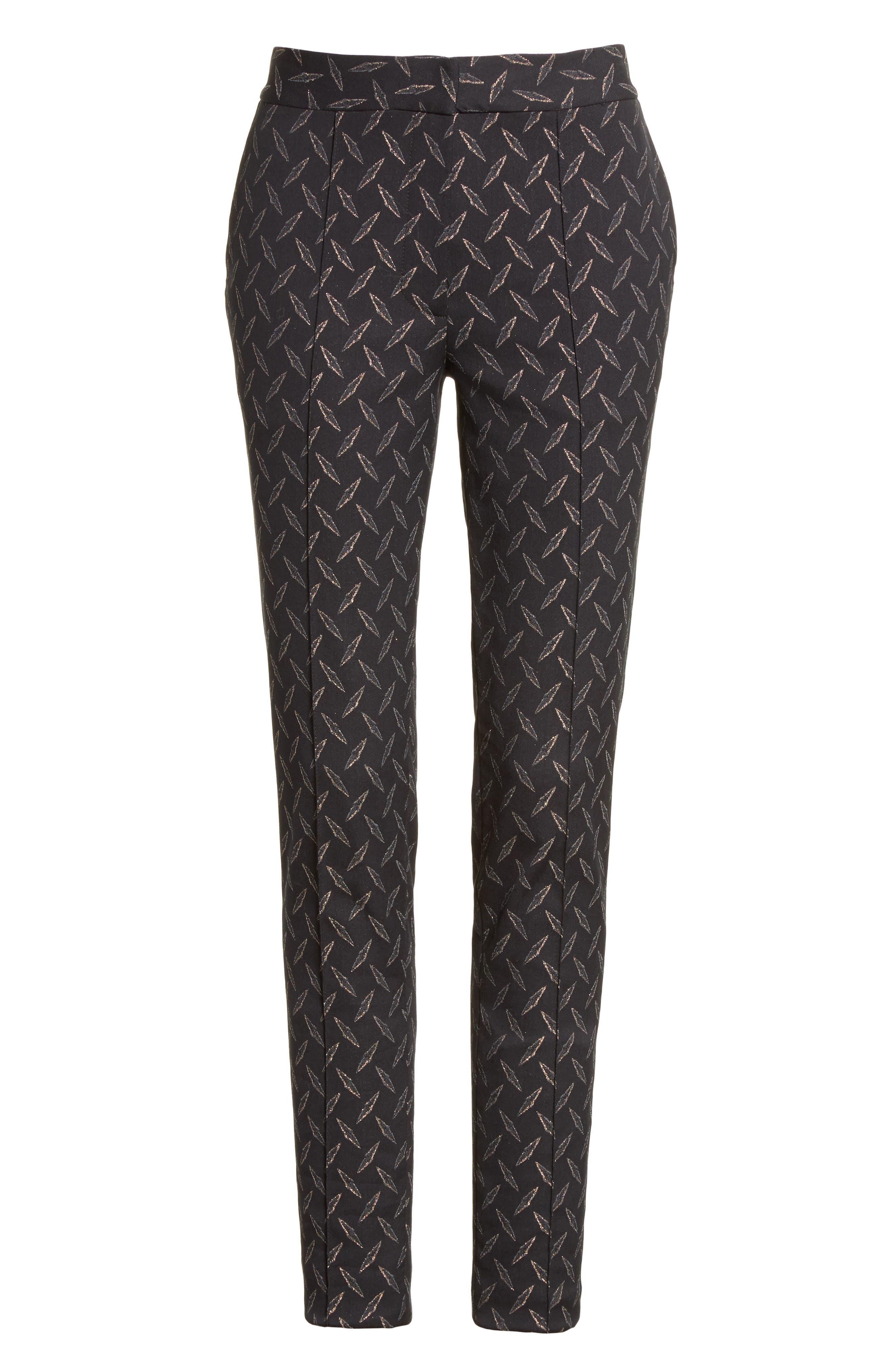 Alternate Image 5  - Yigal Azrouël Metallic Stretch Jacquard Pants