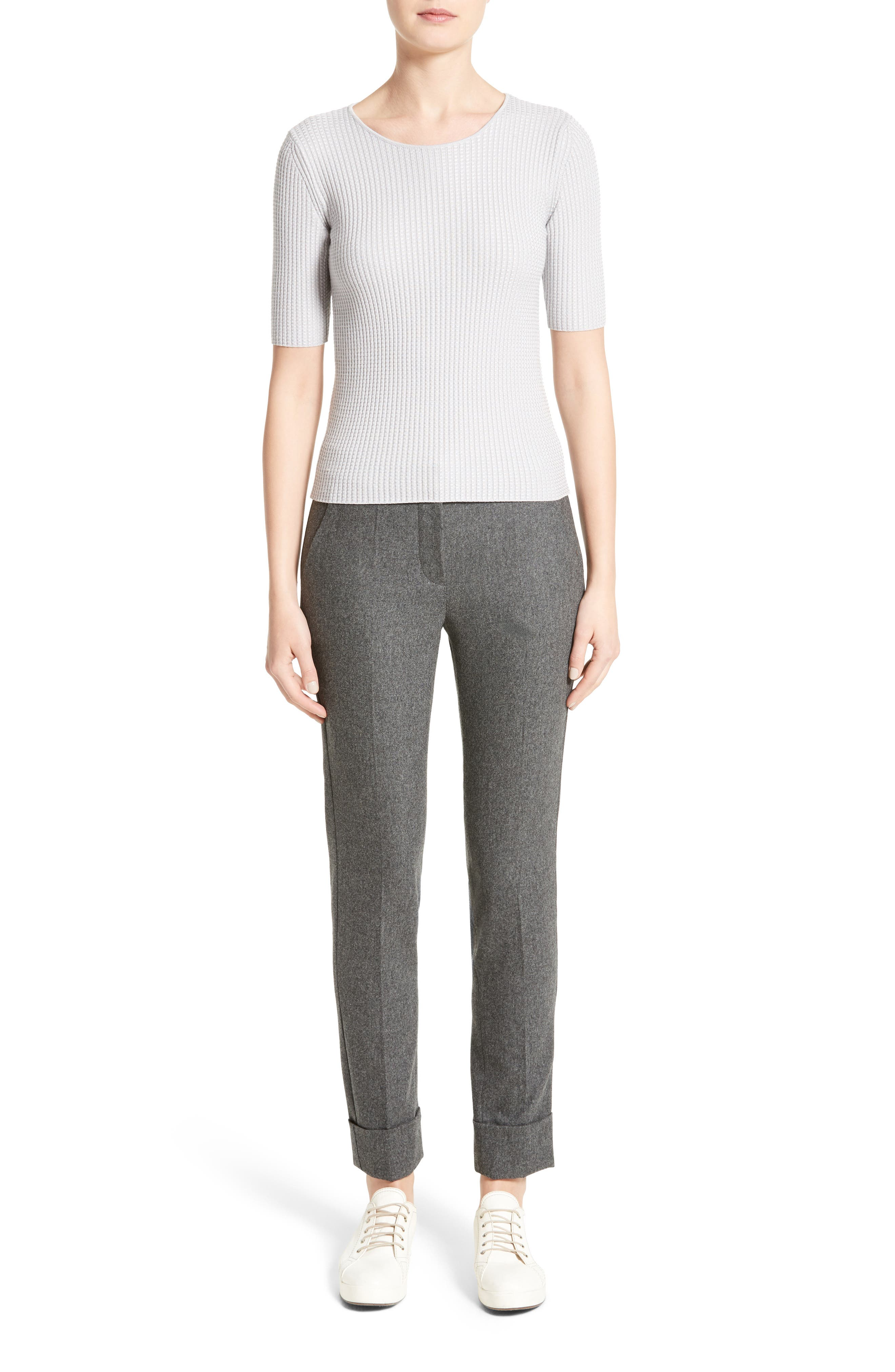 Stretch Wool Blend Top,                             Alternate thumbnail 7, color,                             Light Grey
