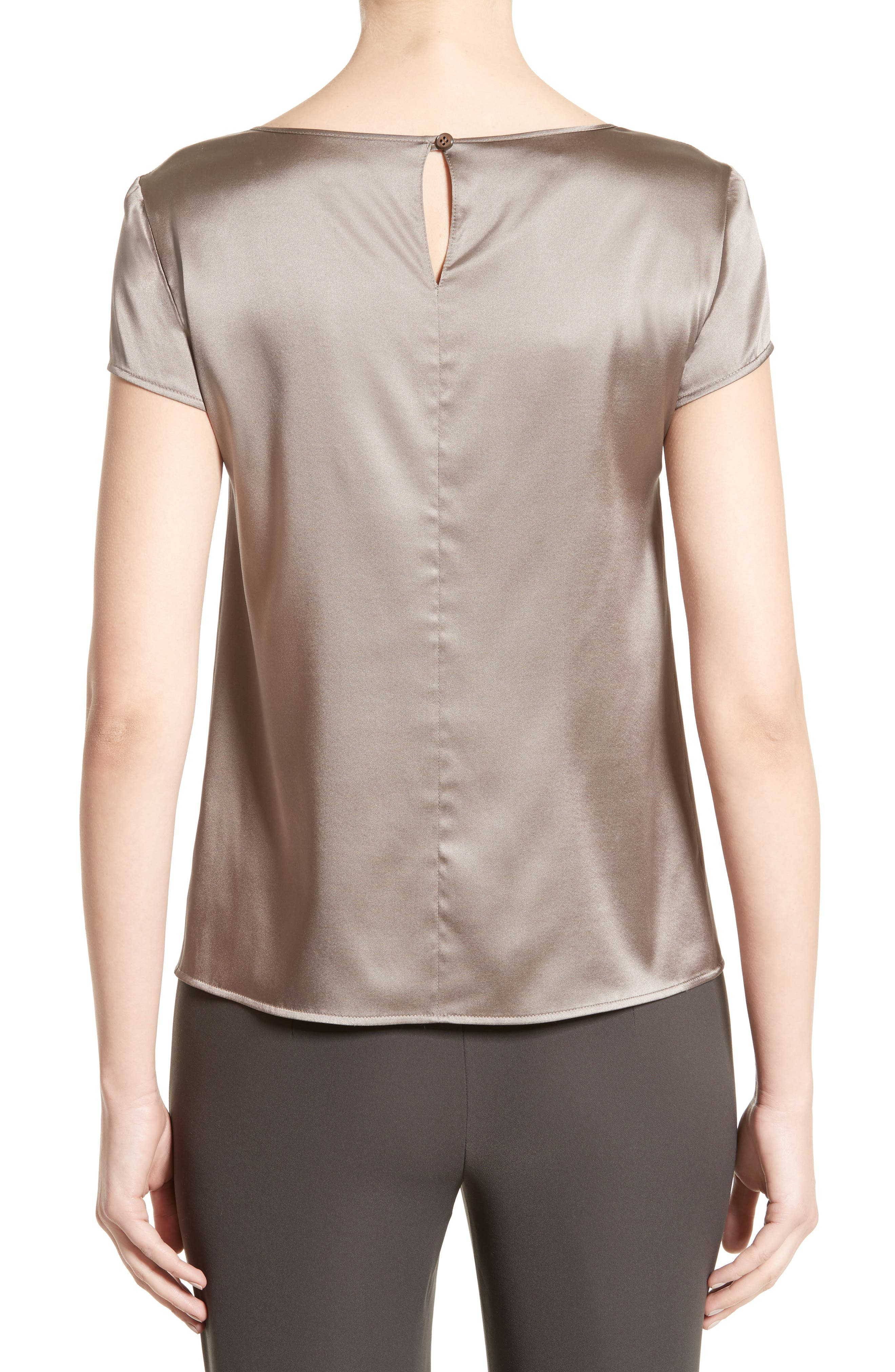 Alternate Image 2  - Armani Collezioni Stretch Silk Satin Top