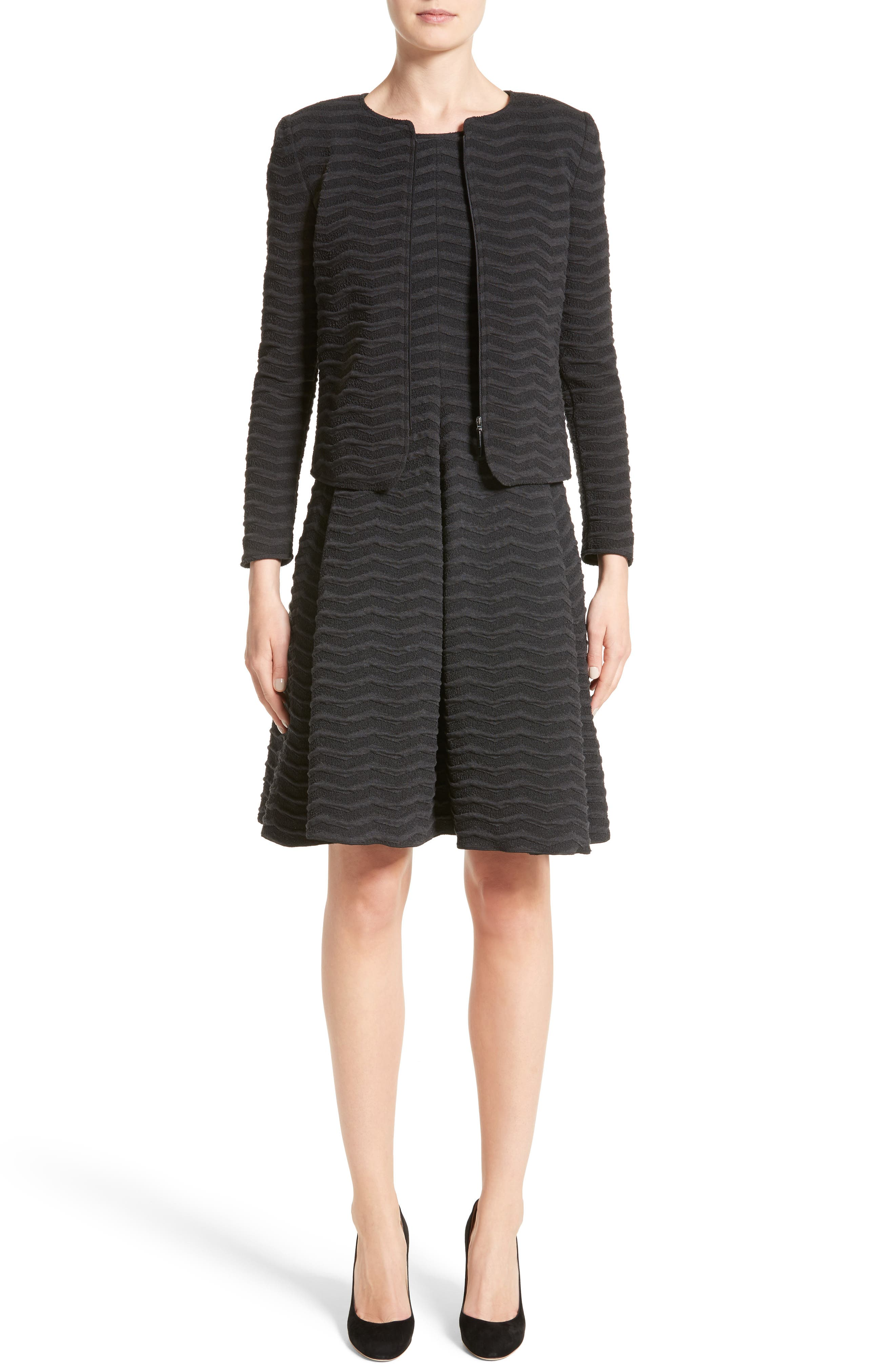Alternate Image 7  - Armani Collezioni Embossed Jacquard Jersey Jacket