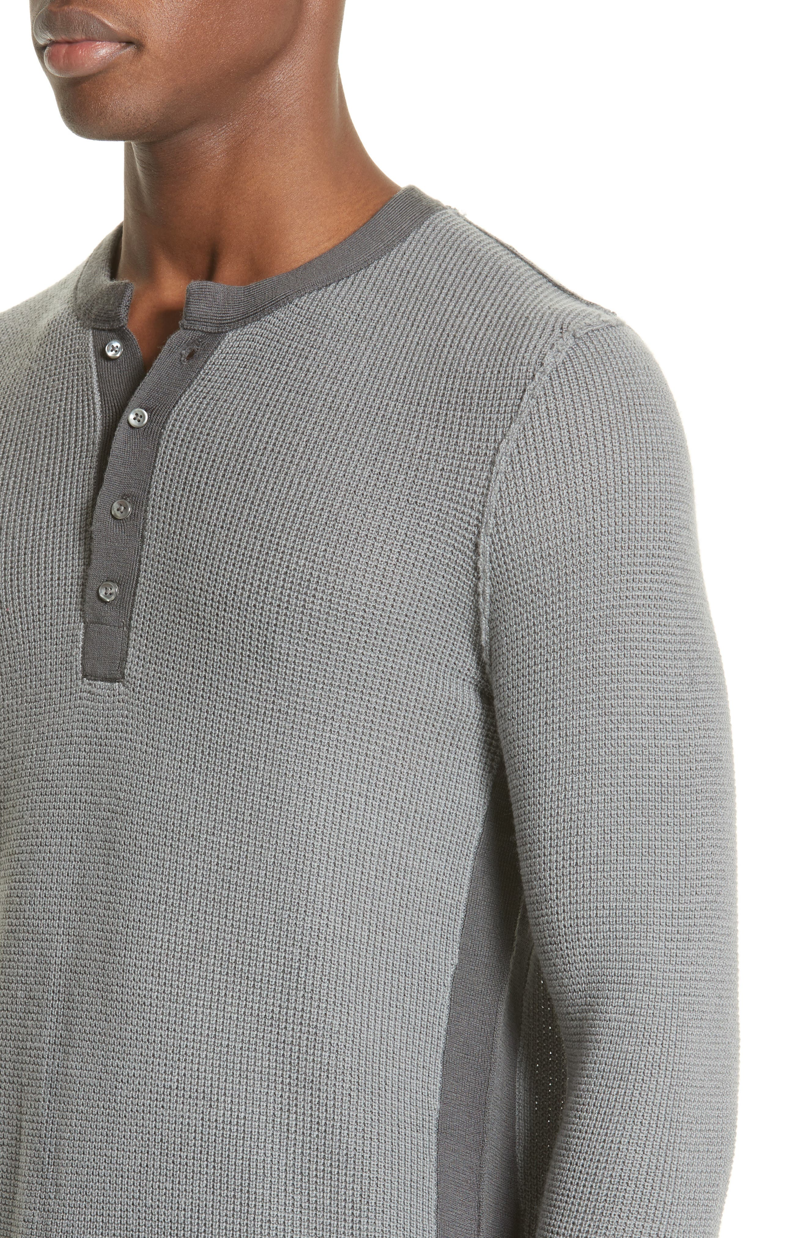 Zack Two-Tone Waffle Knit Wool Henley,                             Alternate thumbnail 4, color,                             Cement/ Carbon