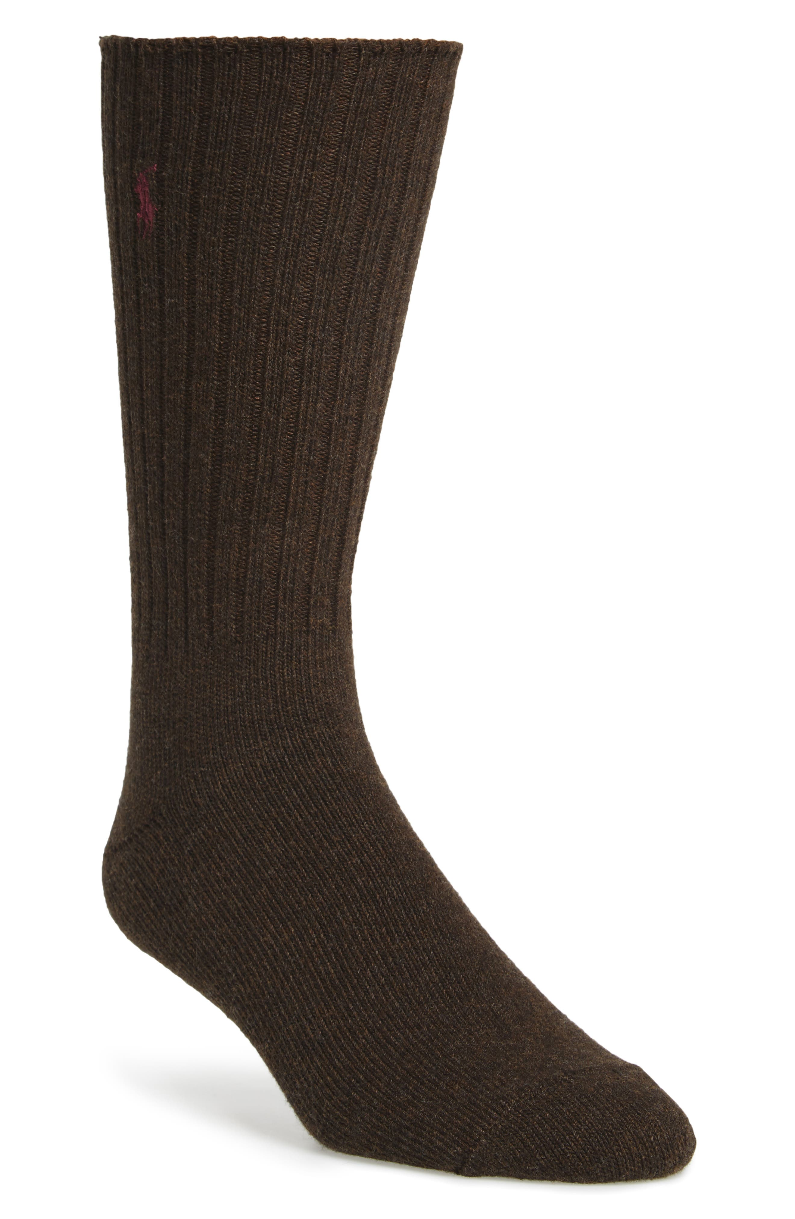 Crew Socks,                         Main,                         color, Bark