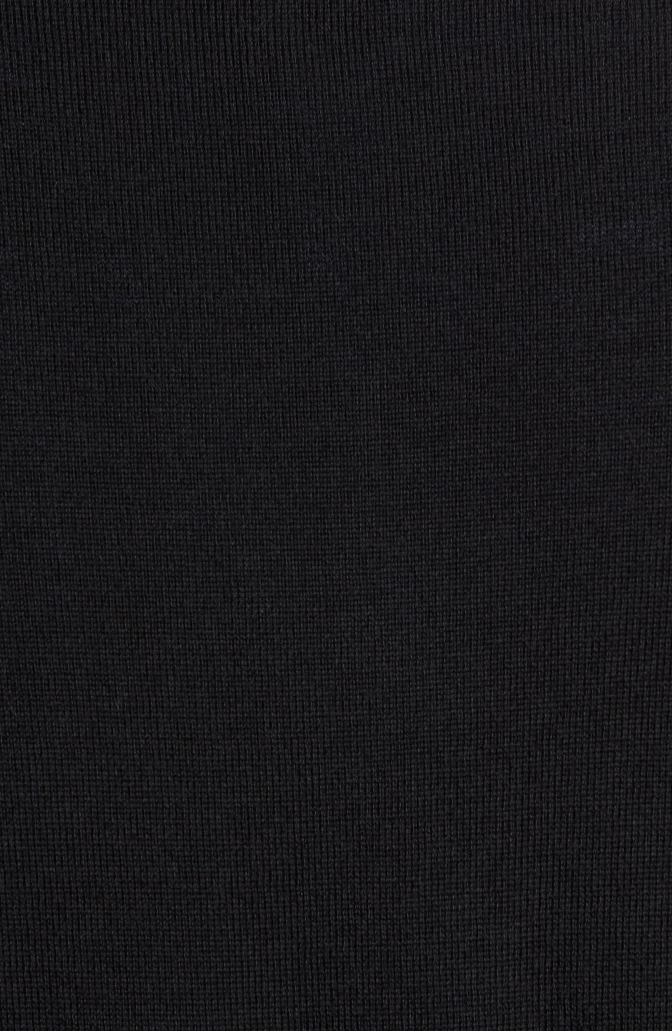 Quarter Zip Wool Pullover,                             Alternate thumbnail 5, color,                             Black Caviar