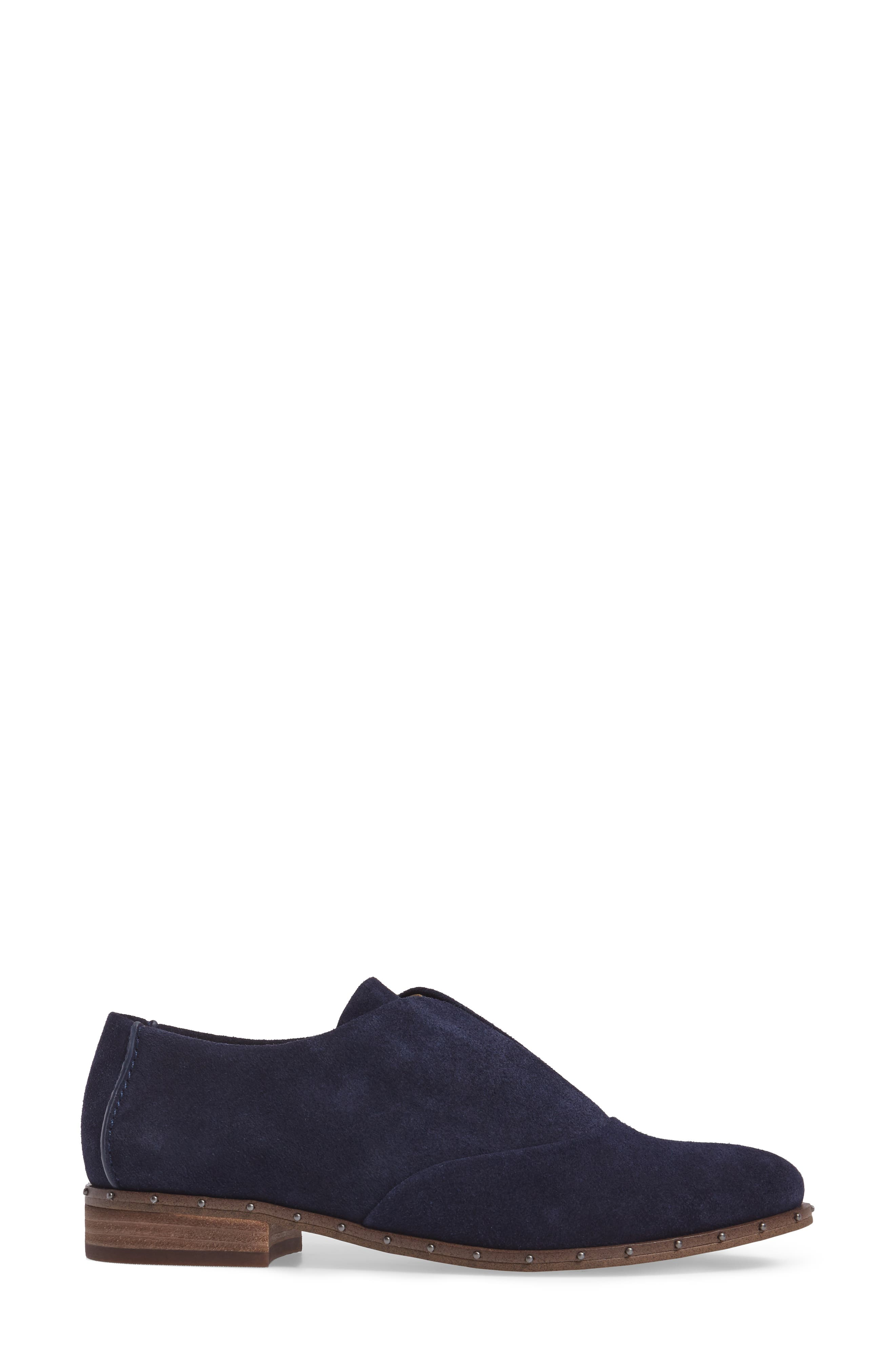 Deandra Studded Laceless Oxford,                             Alternate thumbnail 3, color,                             Navy Suede