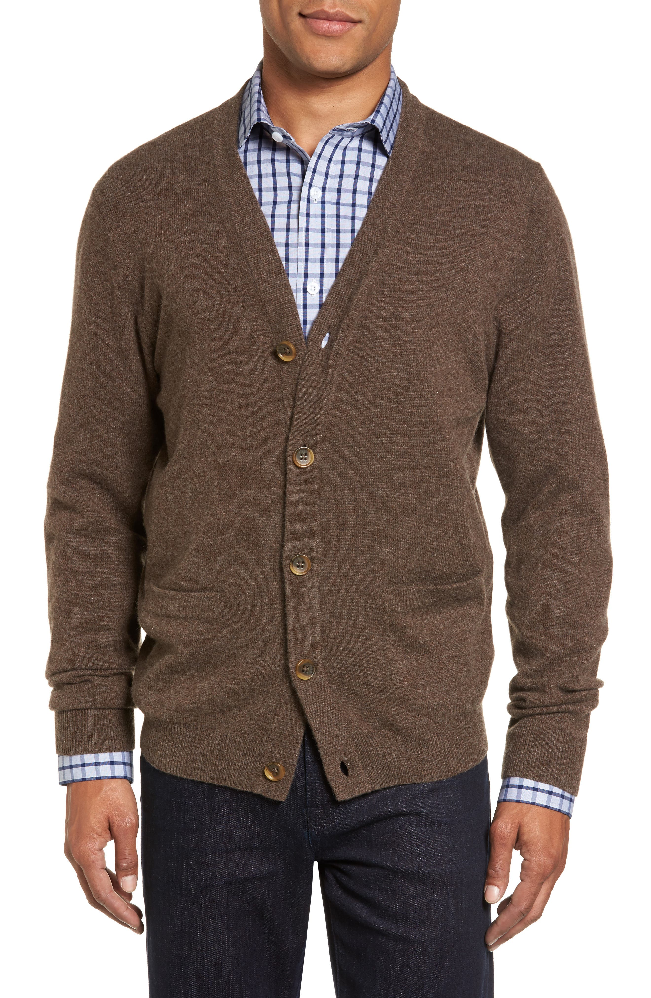 Alternate Image 1 Selected - Nordstrom Men's Shop Cashmere Button Front Cardigan
