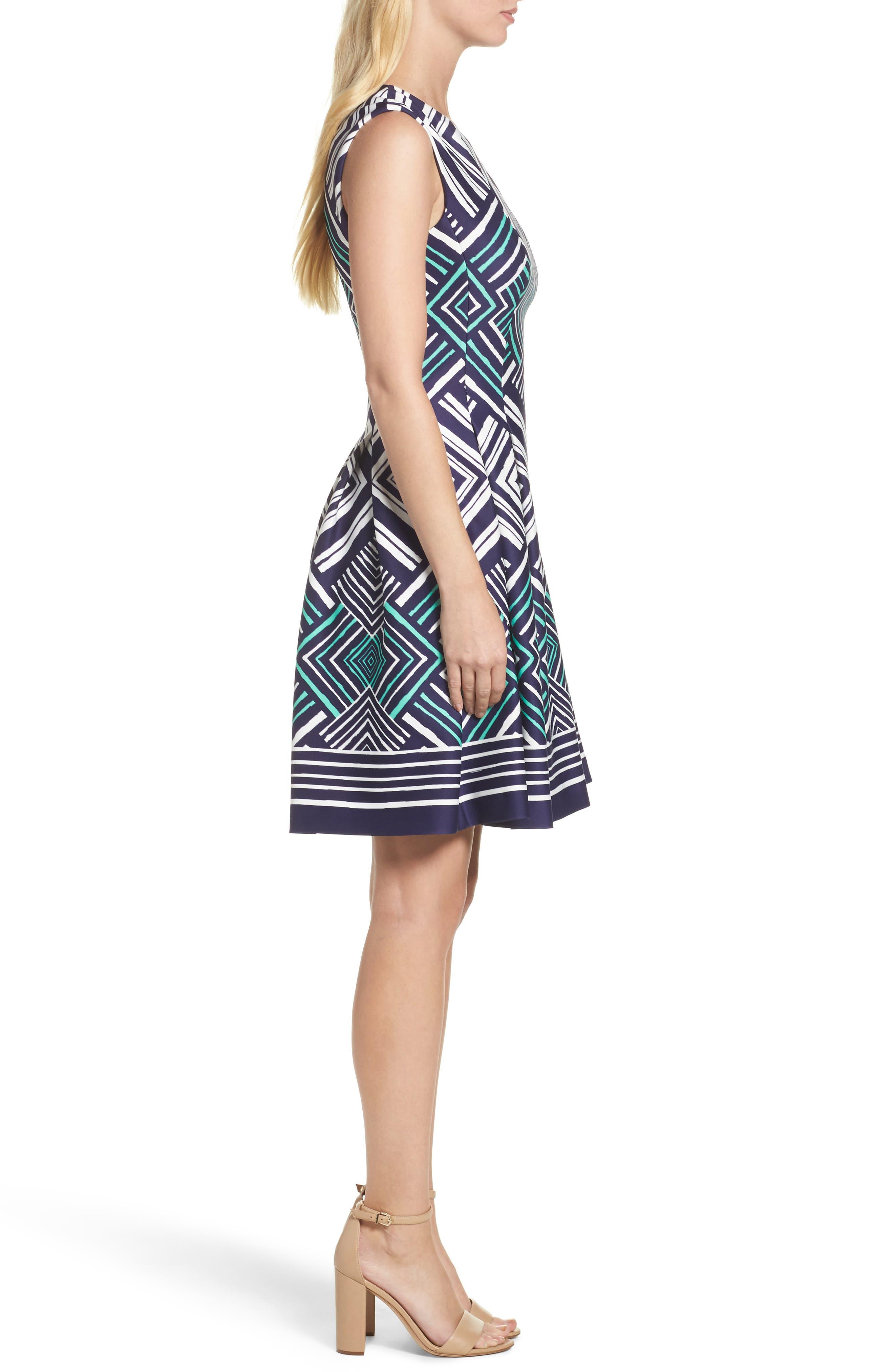 Fit & Flare Dress,                             Alternate thumbnail 3, color,                             Navy/ Multi