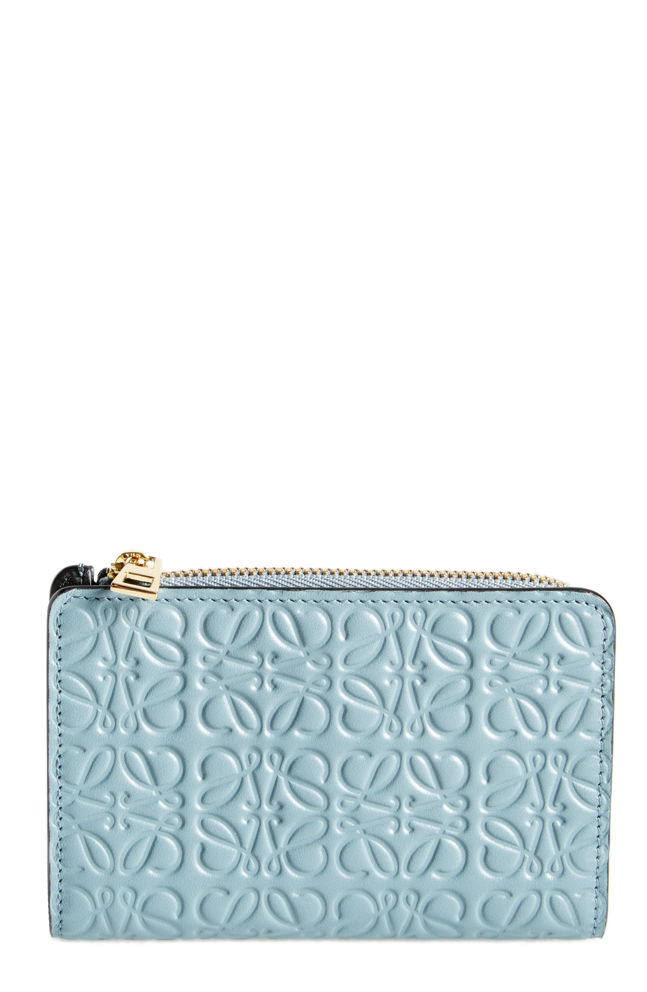 Small Leather Zip Wallet,                         Main,                         color, Stone Blue