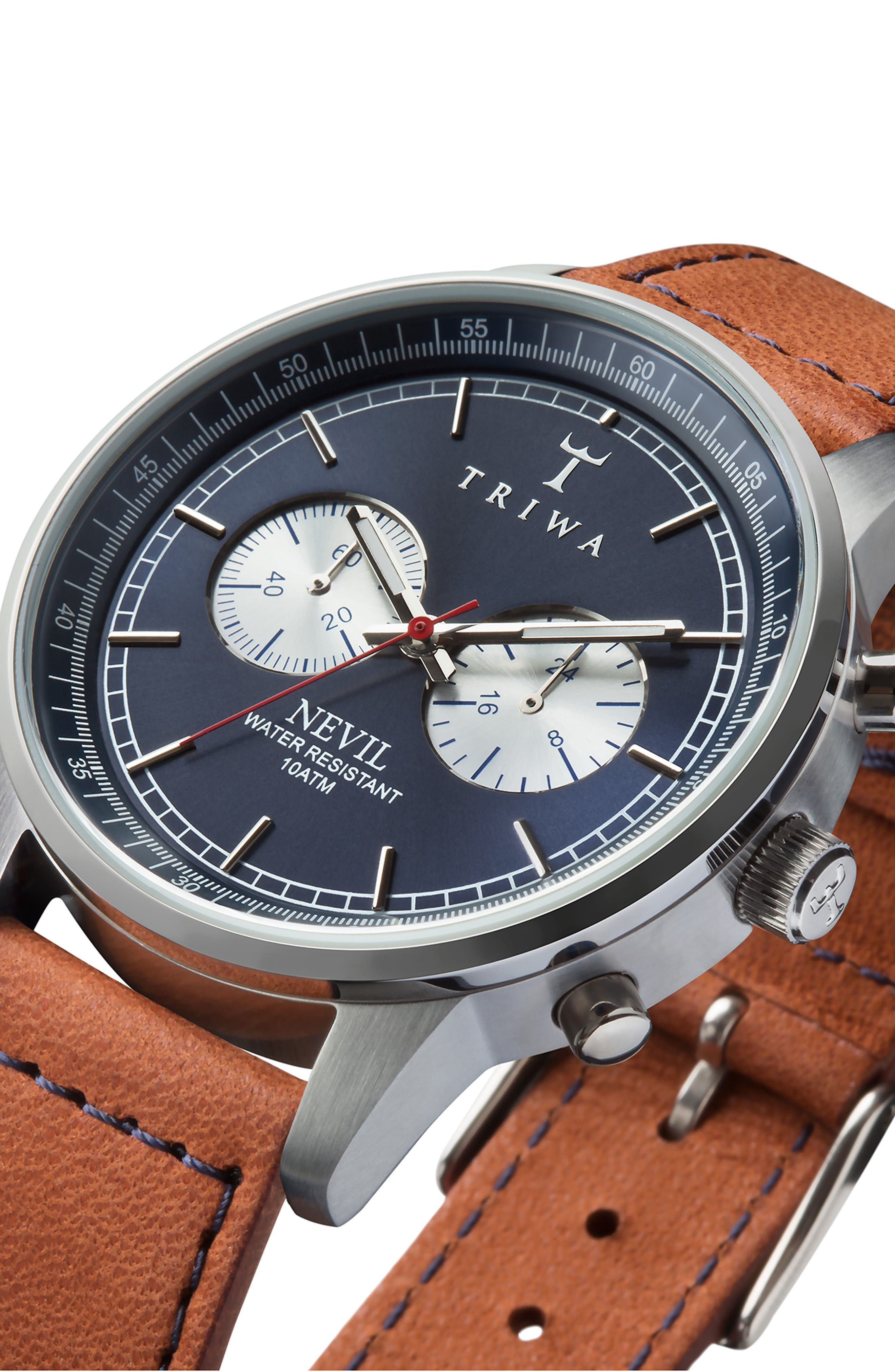 Blue Steel Nevil Chronograph Leather Strap Watch, 42mm,                             Alternate thumbnail 4, color,                             Brown/ Blue/ Silver