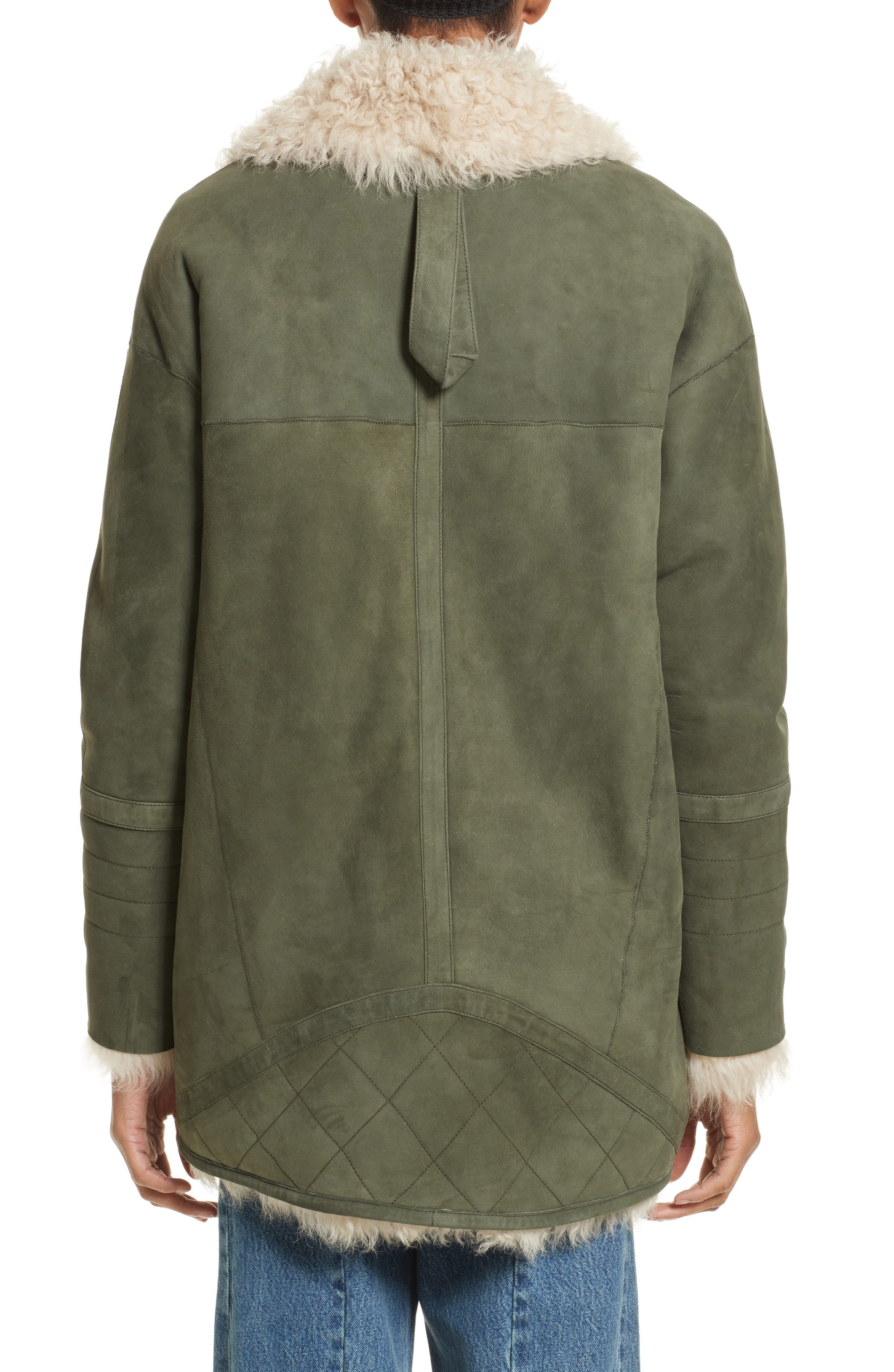 Ines Suede & Genuine Shearling Coat,                             Alternate thumbnail 2, color,                             Olive