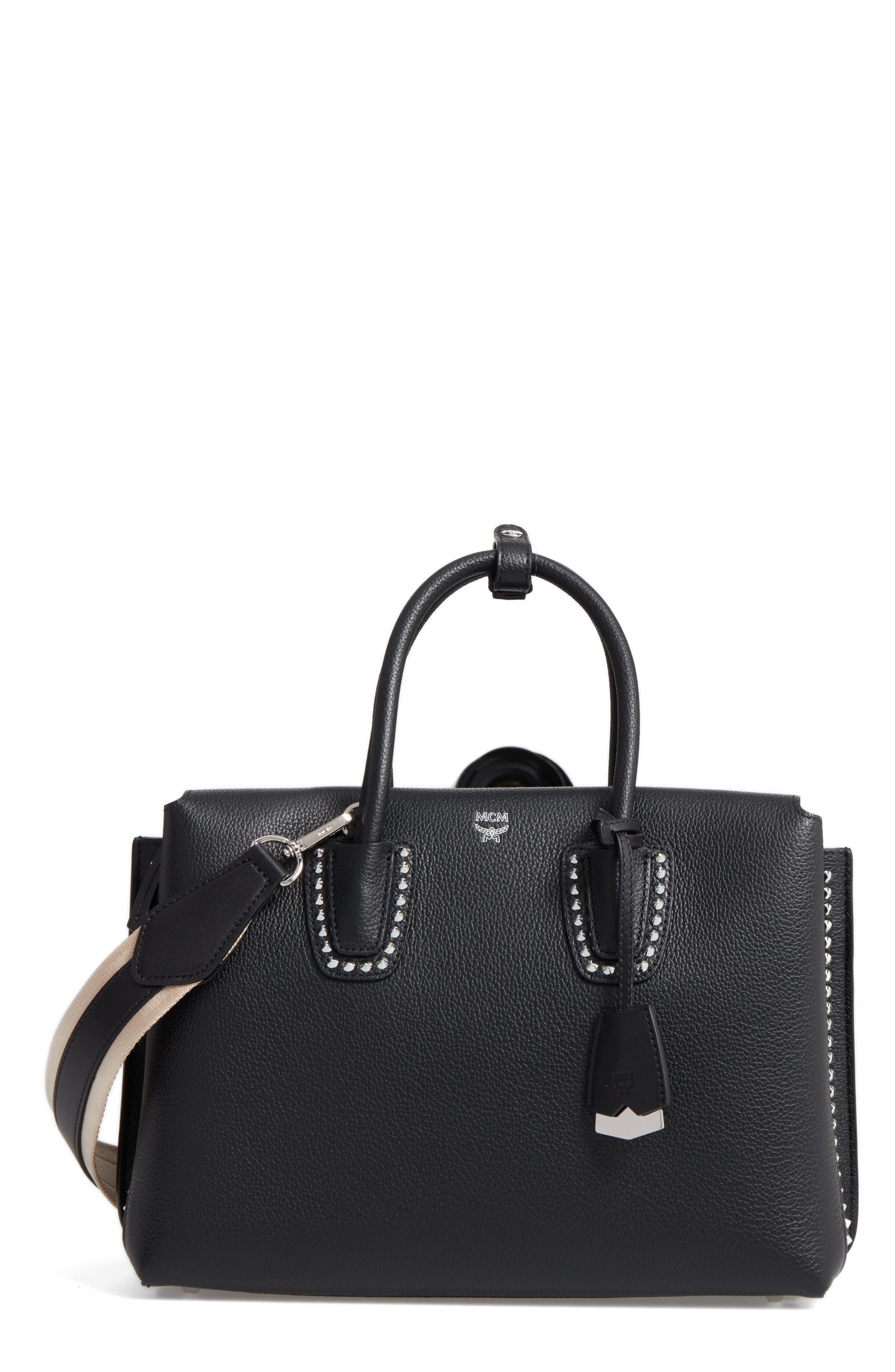 Medium Milla Studded Leather Tote,                             Main thumbnail 1, color,                             Black
