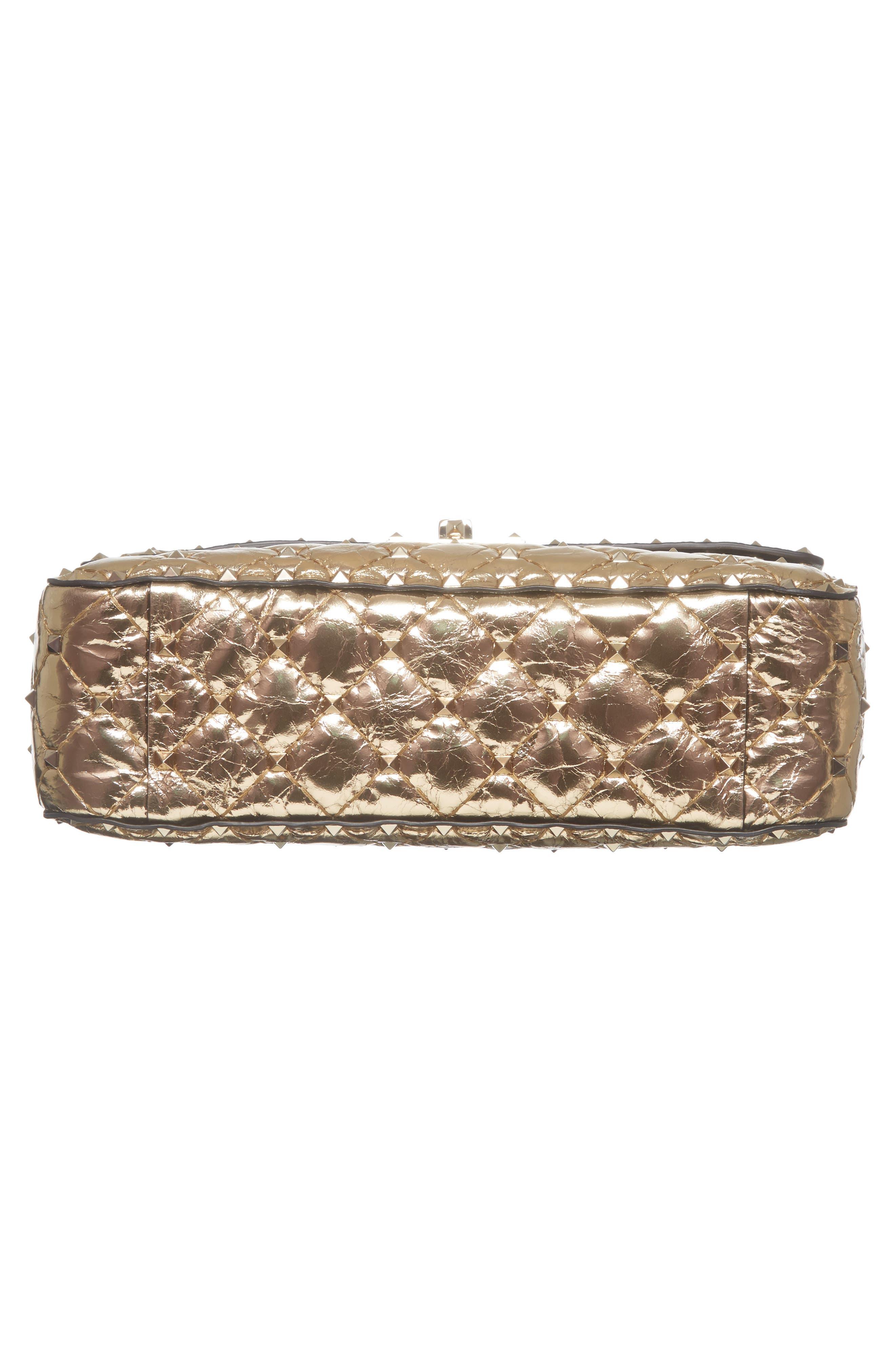 Matelassé Rockstud Spike Leather Top Handle Bag,                             Alternate thumbnail 5, color,                             Mekong