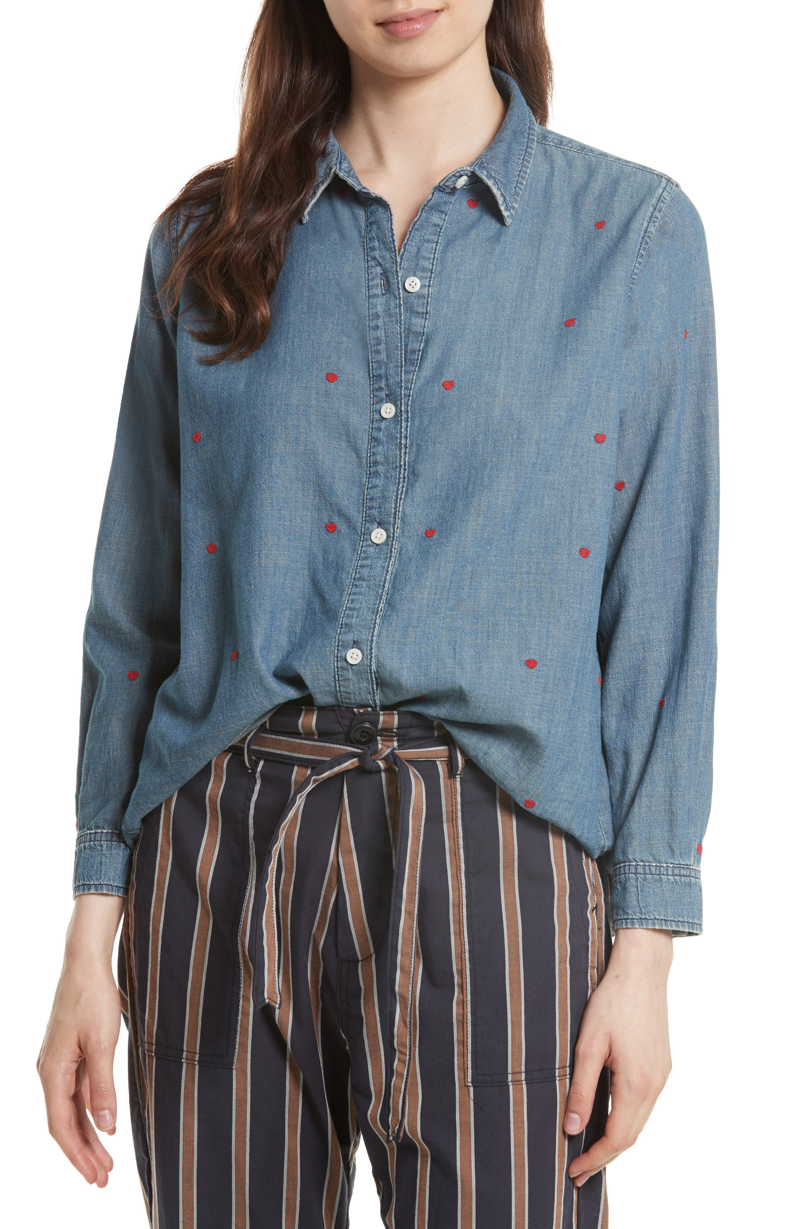 The Campus Embroidered Shirt,                         Main,                         color, Semester Wash/ Heart