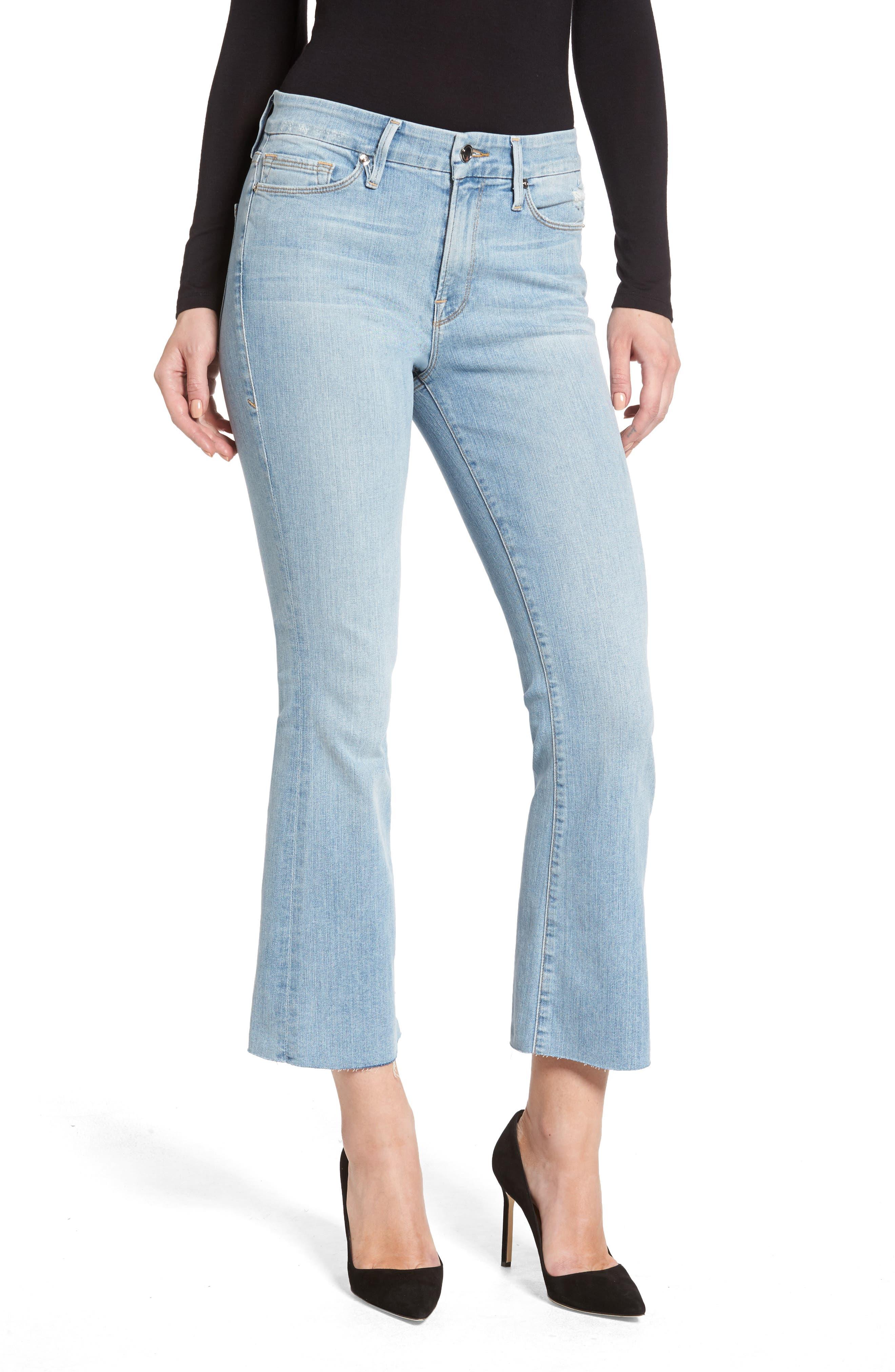 Crop Raw Edge Bootcut Jeans,                         Main,                         color, Blue