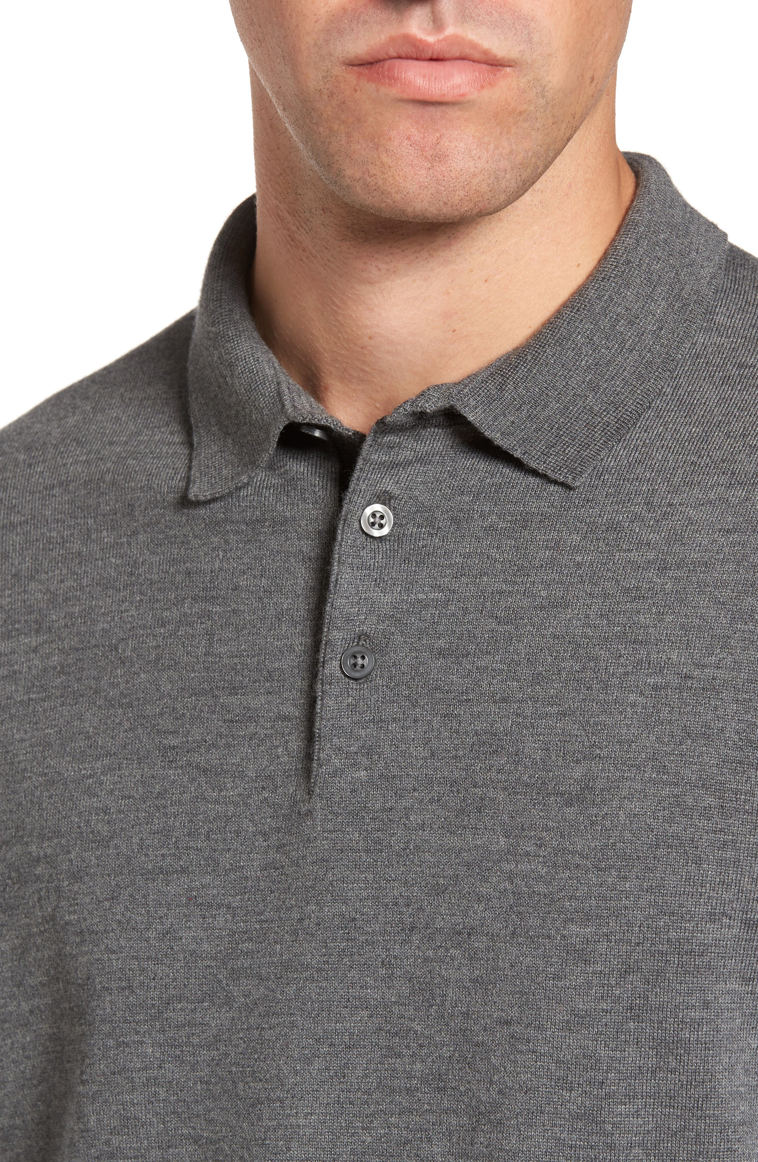 Merino Wool Polo Sweater,                             Alternate thumbnail 4, color,                             Grey Heather