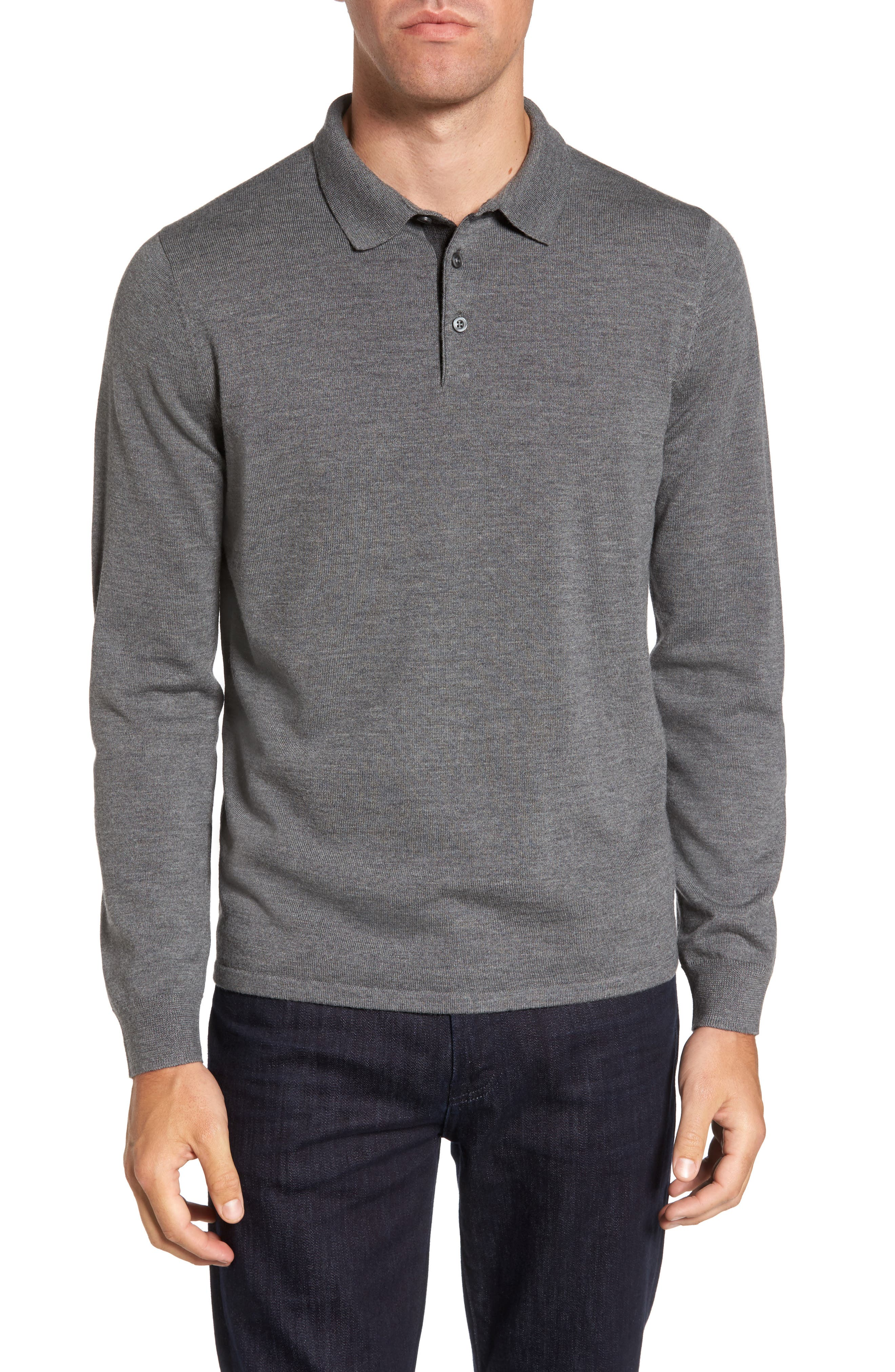 Merino Wool Polo Sweater,                             Main thumbnail 1, color,                             Grey Heather