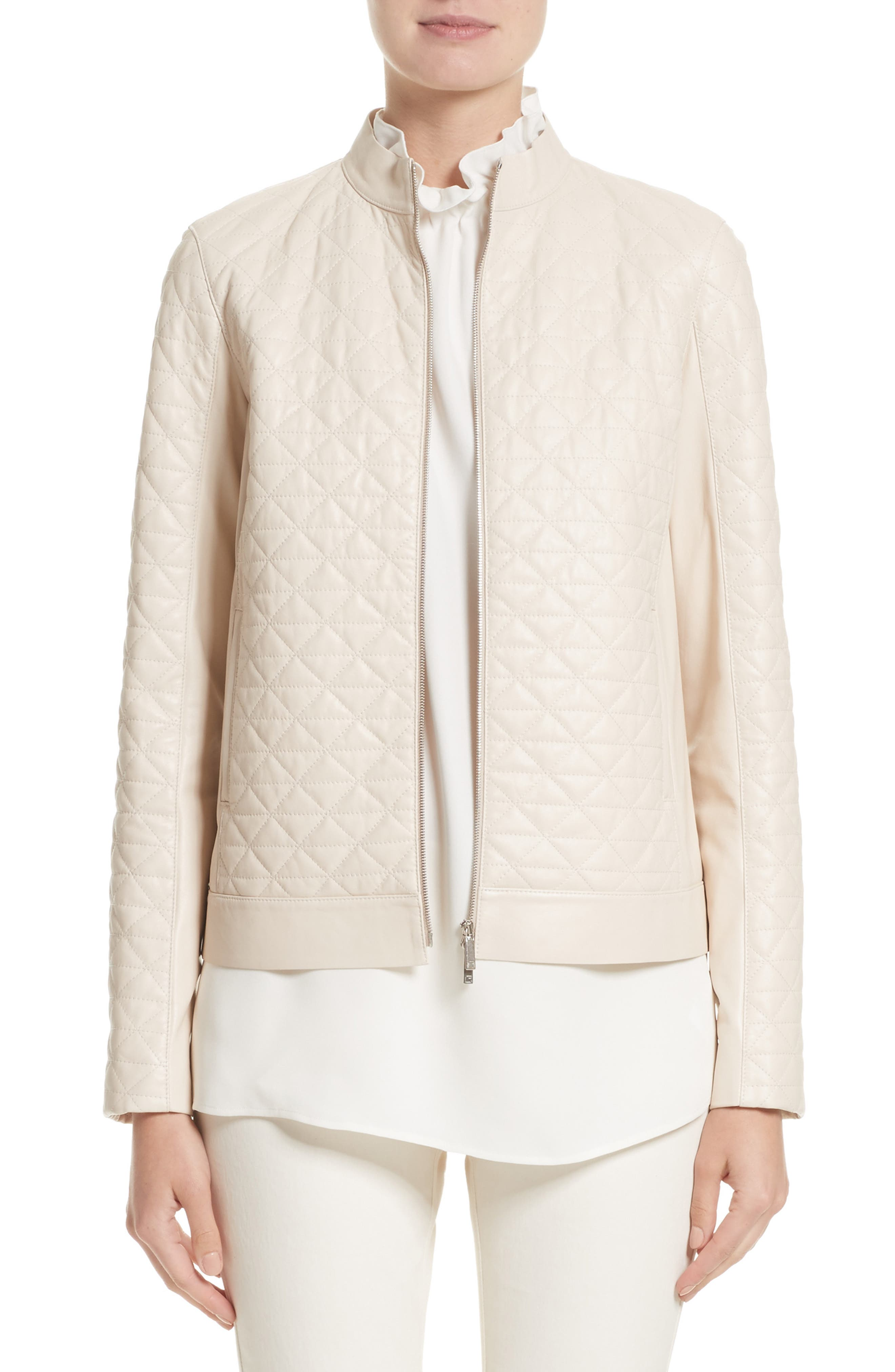 LAFAYETTE 148 NEW YORK Becks Quilted Lambskin Leather Moto Jacket