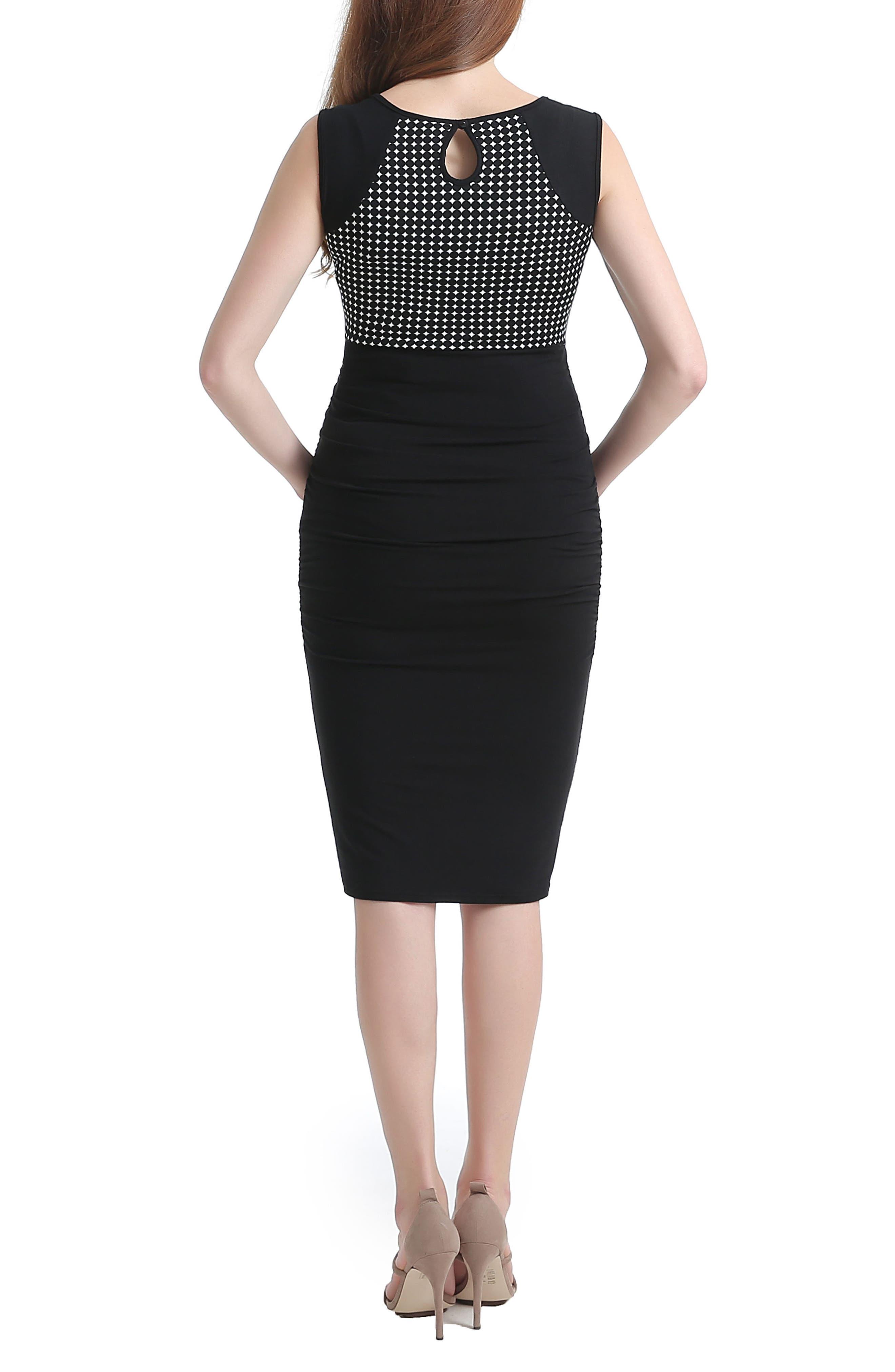 Lindsey Dot Maternity Dress,                             Alternate thumbnail 2, color,                             Black/ White