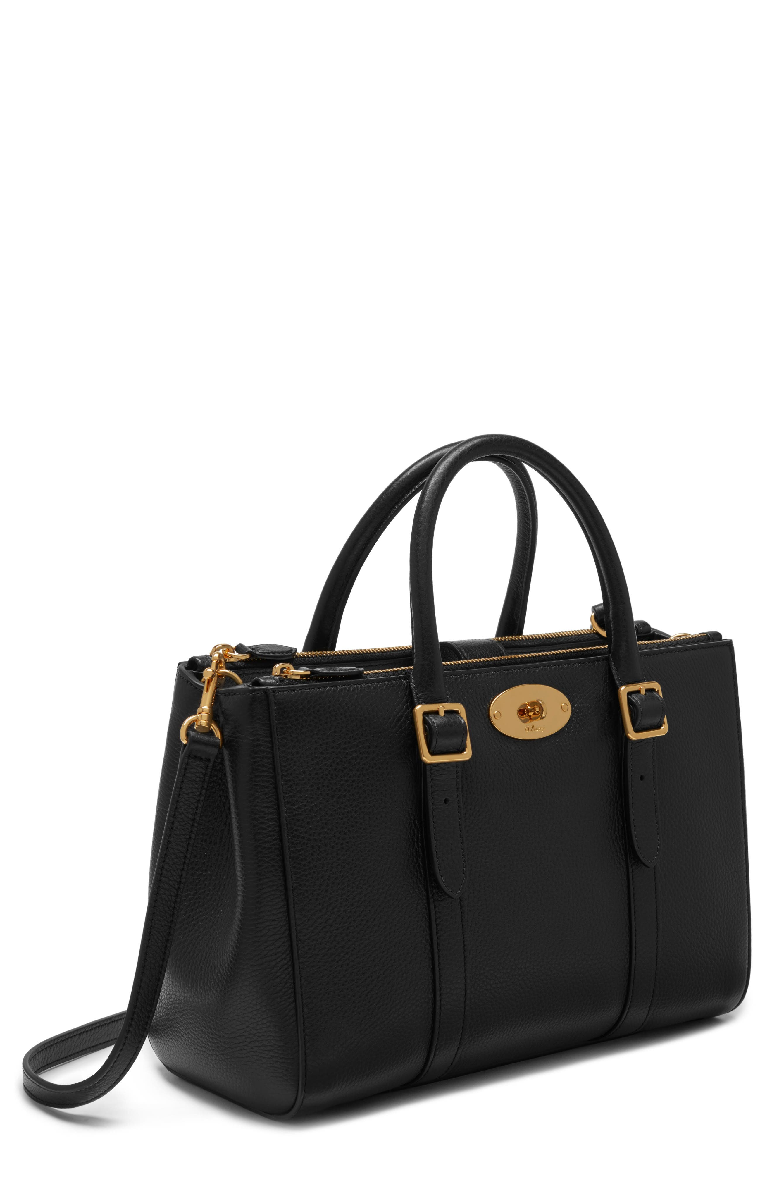Small Bayswater Double Zip Leather Satchel,                             Main thumbnail 1, color,                             Black