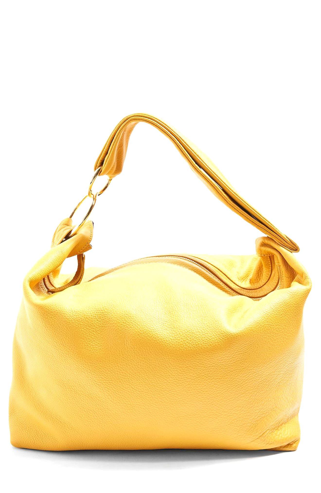 Topshop Premium Leather Hobo Bag