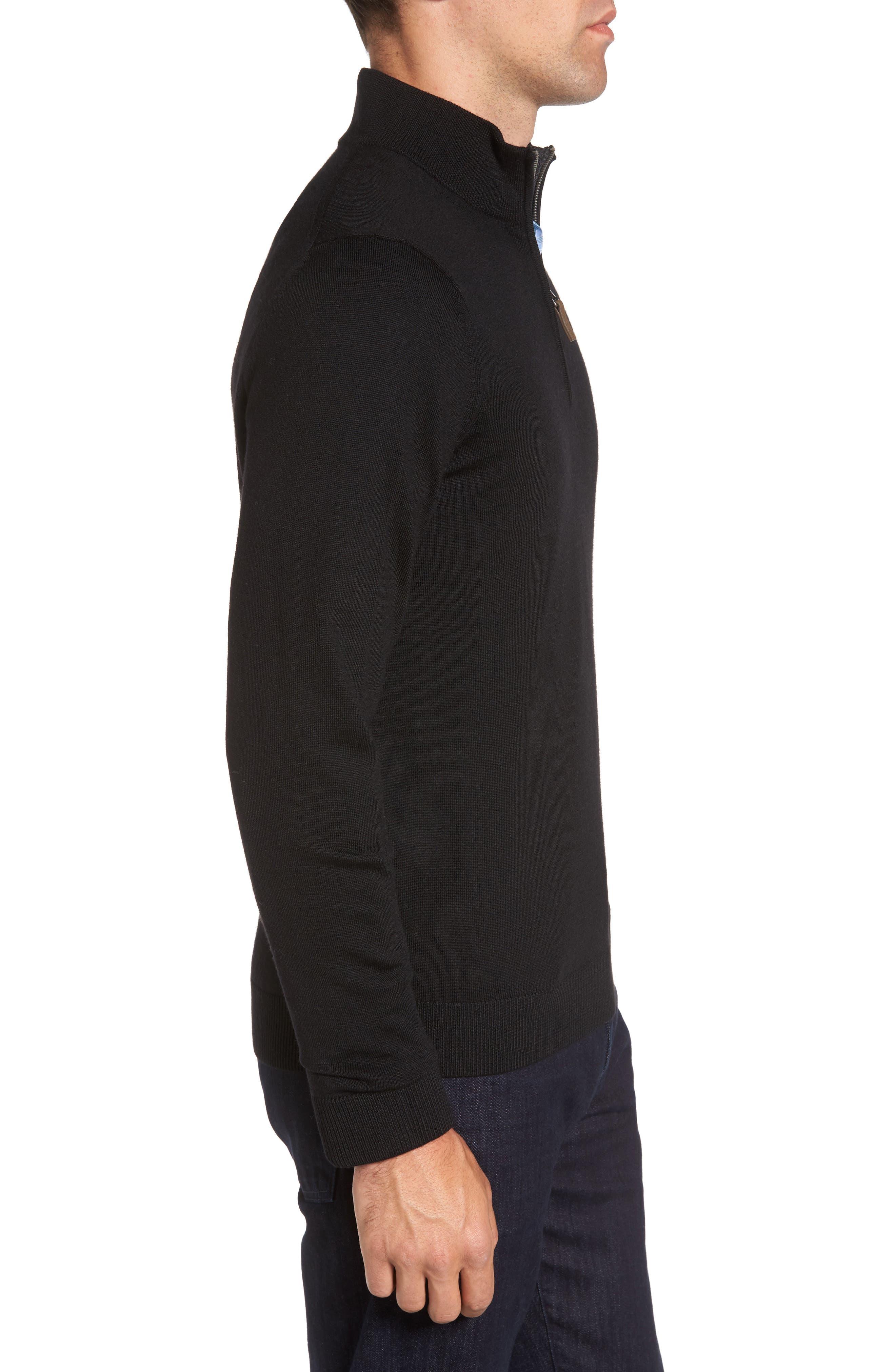 Quarter Zip Wool Pullover,                             Alternate thumbnail 3, color,                             Black Caviar