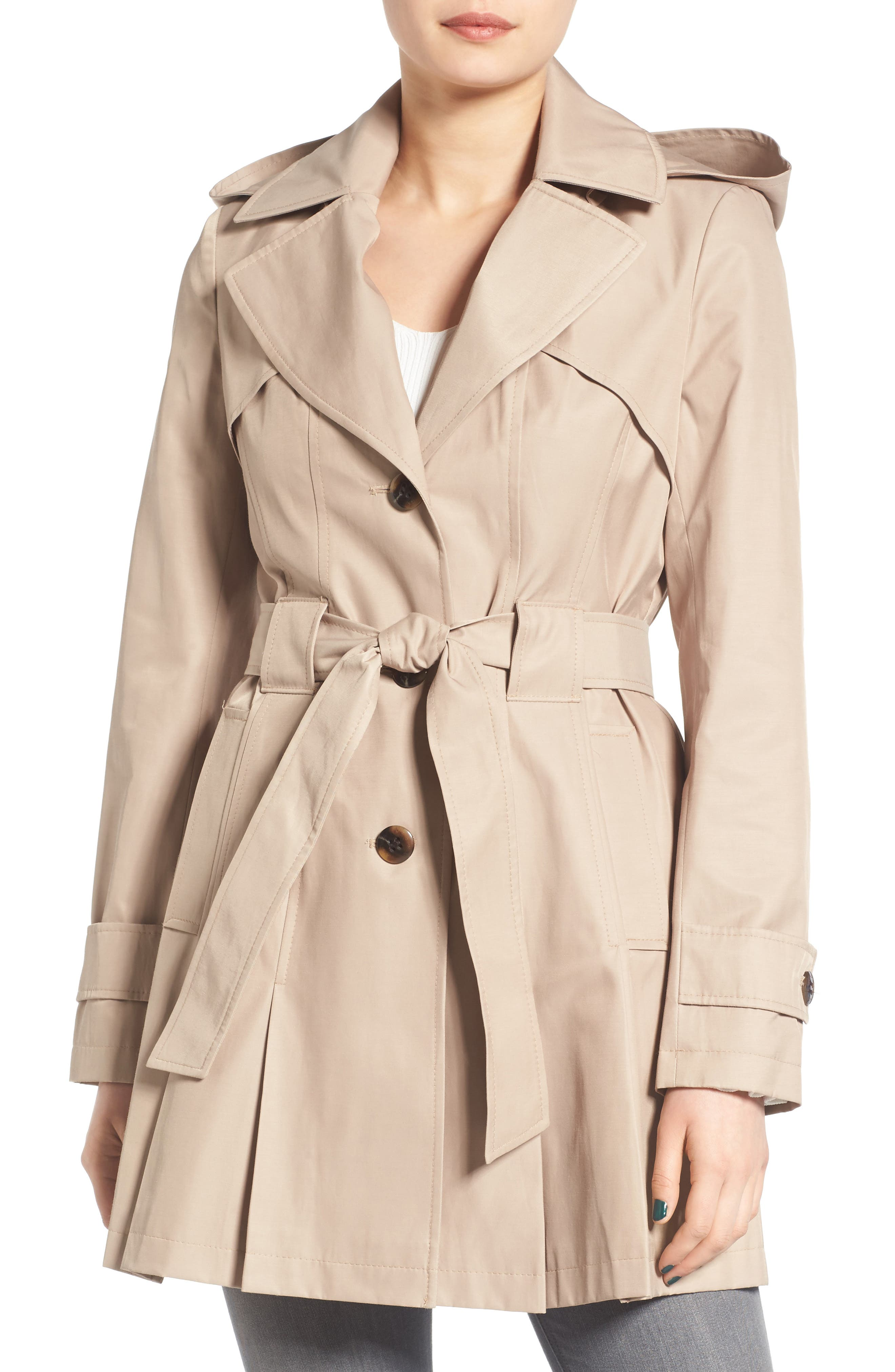 'Scarpa' Hooded Single Breasted Trench Coat,                             Main thumbnail 1, color,                             Sand