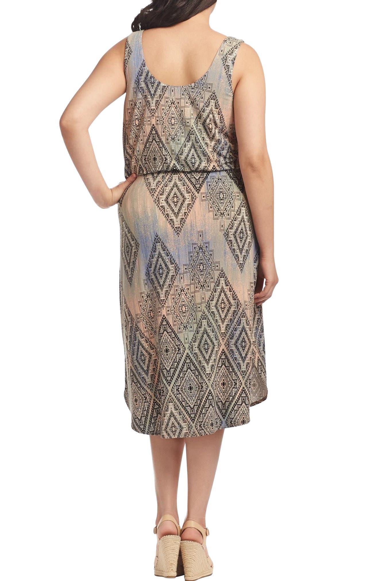 Soraya Print Jersey Midi Dress,                             Alternate thumbnail 2, color,                             Aztec Overlay Diamond
