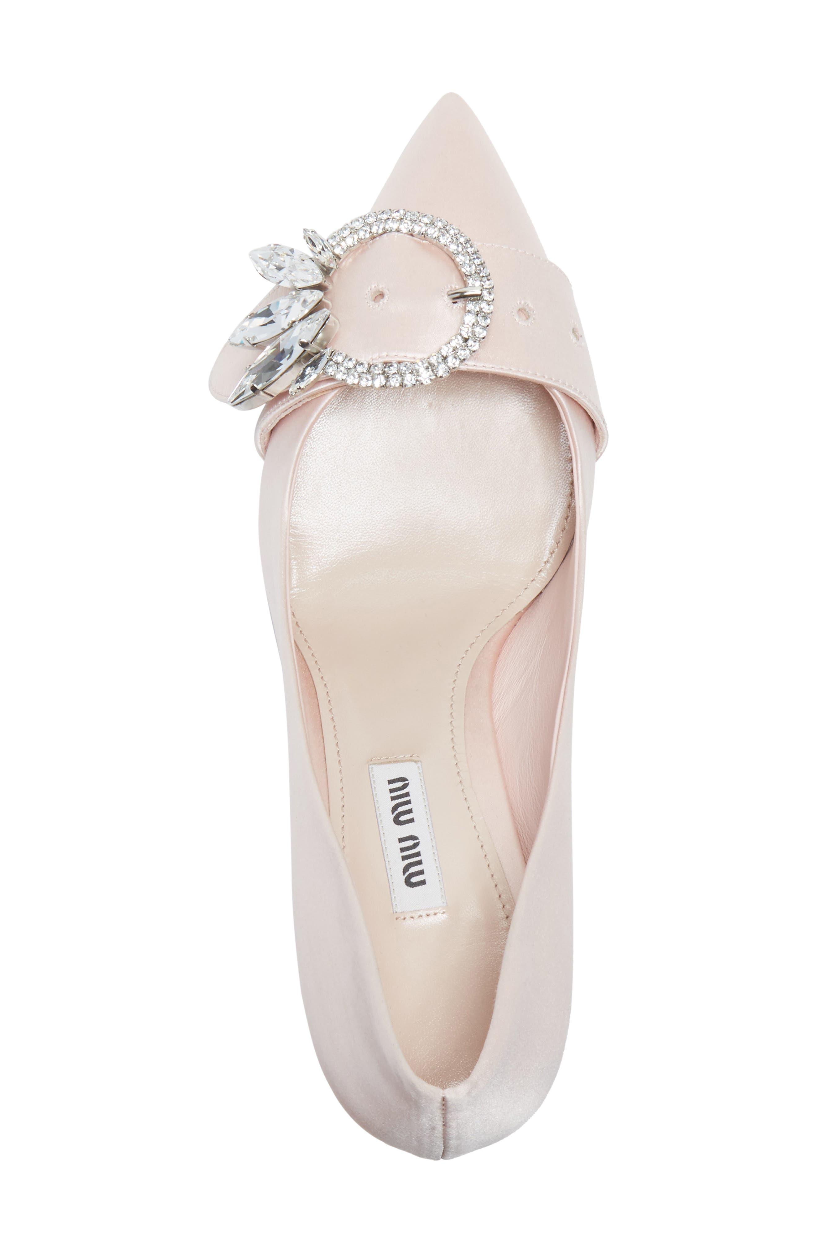 Crystal Buckle Pump,                             Alternate thumbnail 5, color,                             Pink Satin