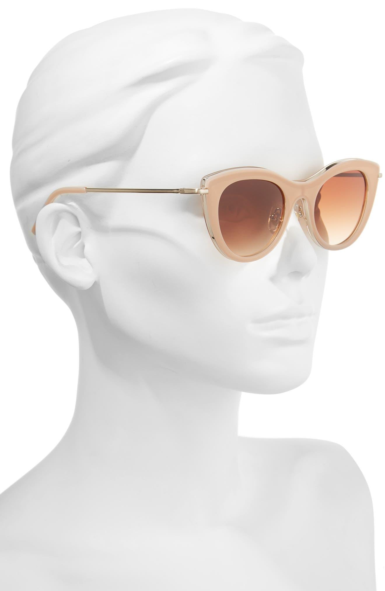 Gansevoort 48mm Special Fit Cat Eye Sunglasses,                             Alternate thumbnail 3, color,                             Blush