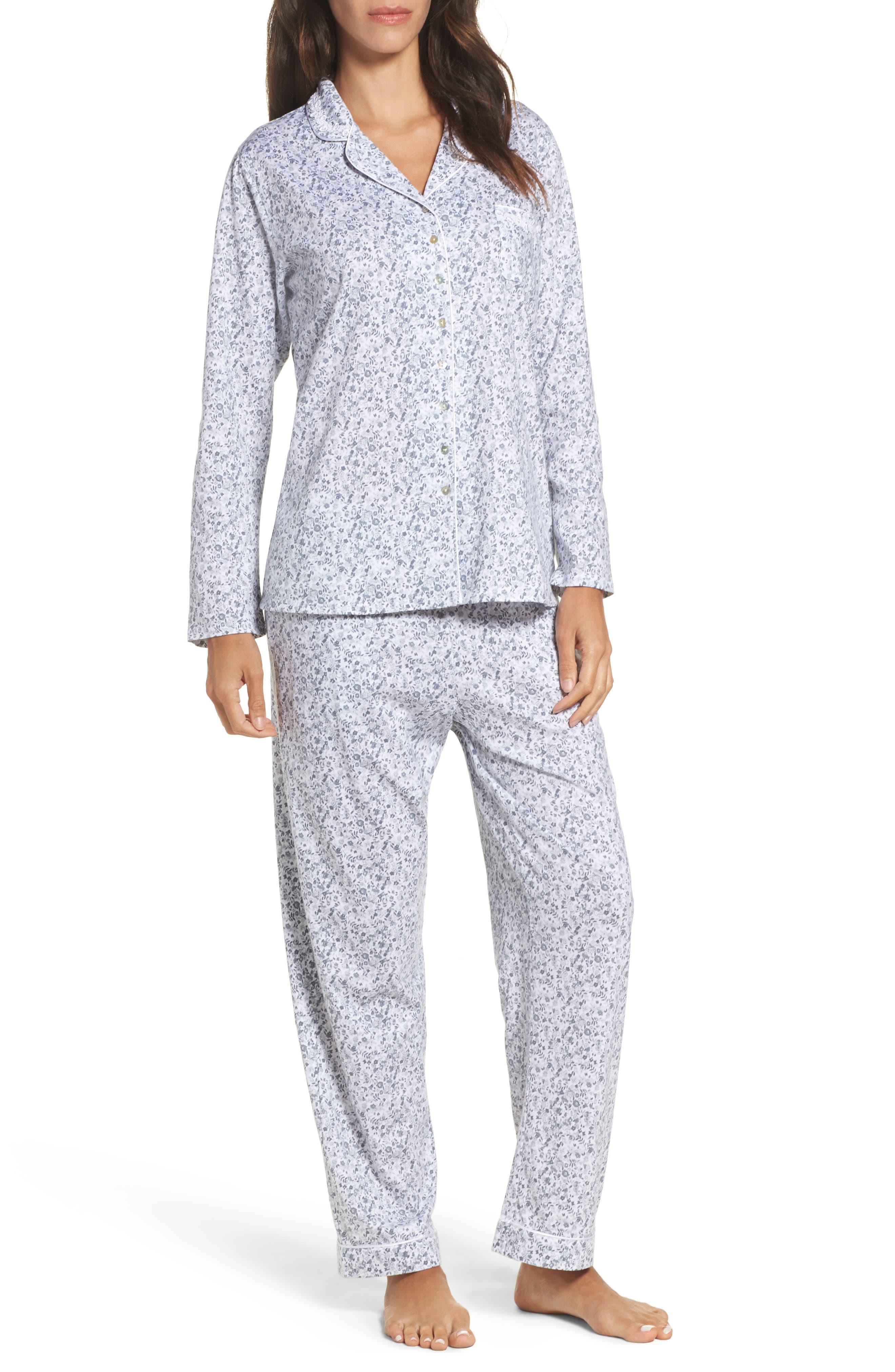 Ditsy Print Pajamas,                         Main,                         color, Grey
