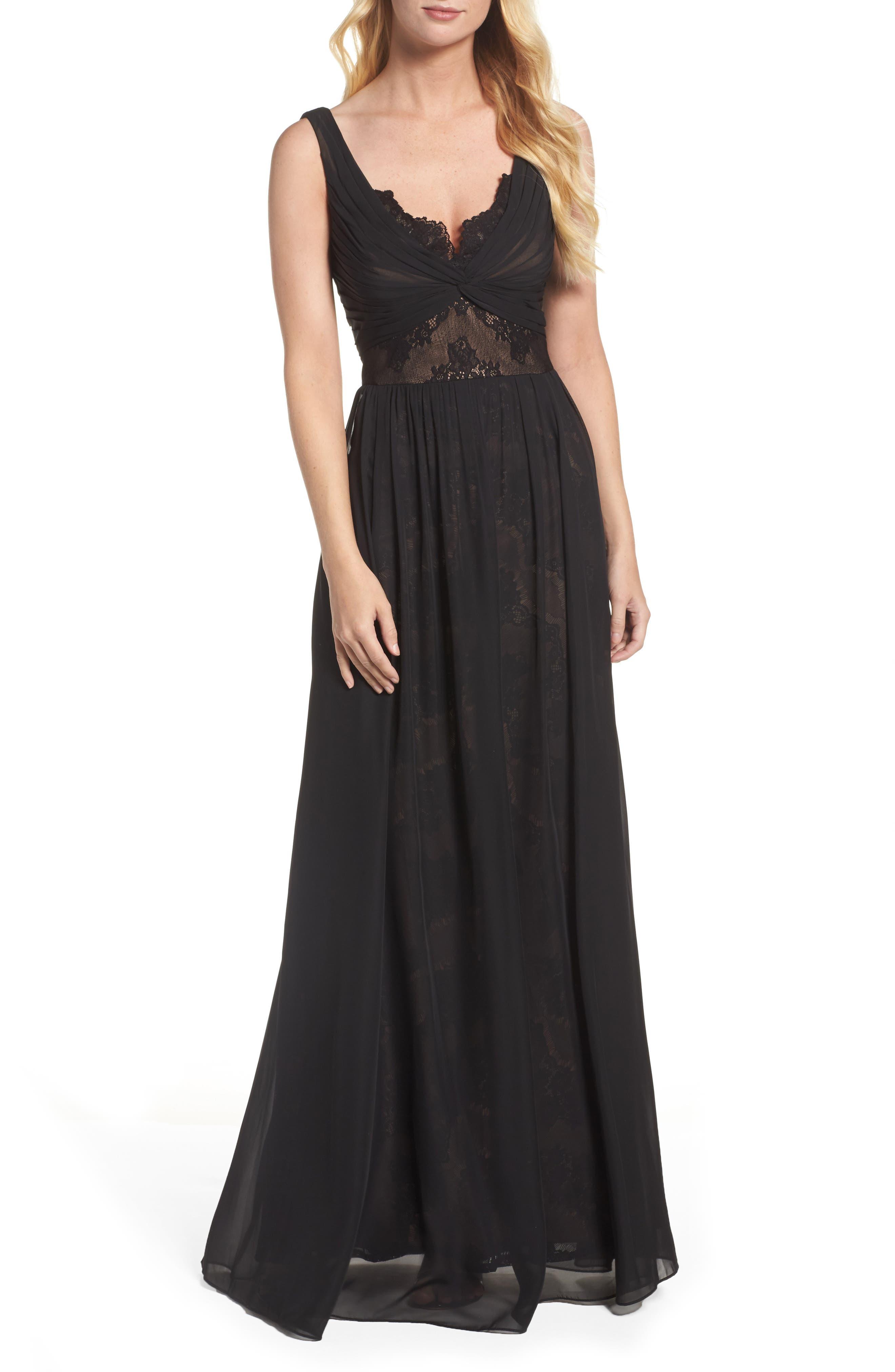 Lace Detail Gown,                             Main thumbnail 1, color,                             Black Nude