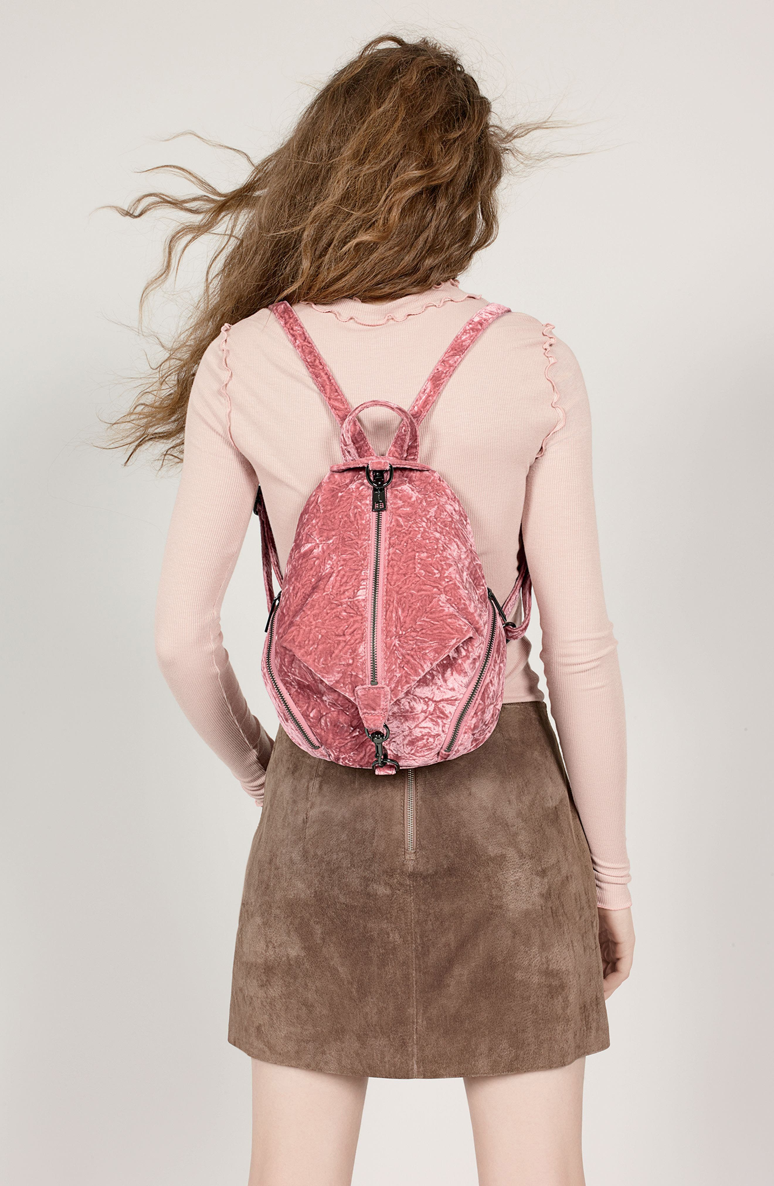 Medium Julian Velvet Backpack,                             Alternate thumbnail 2, color,                             Pink Velvet/ Gunmetal Hardware