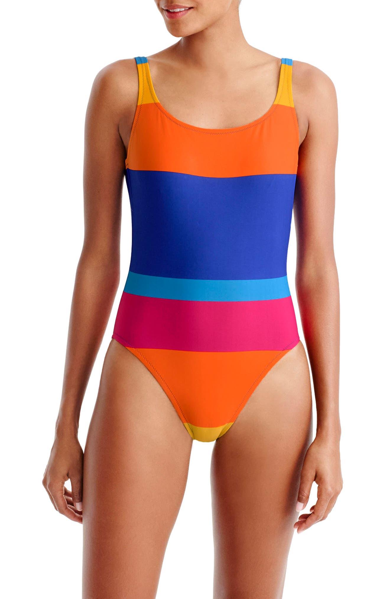 Martinique Stripe U-Back One-Piece Swimsuit,                         Main,                         color, Vintage Multi