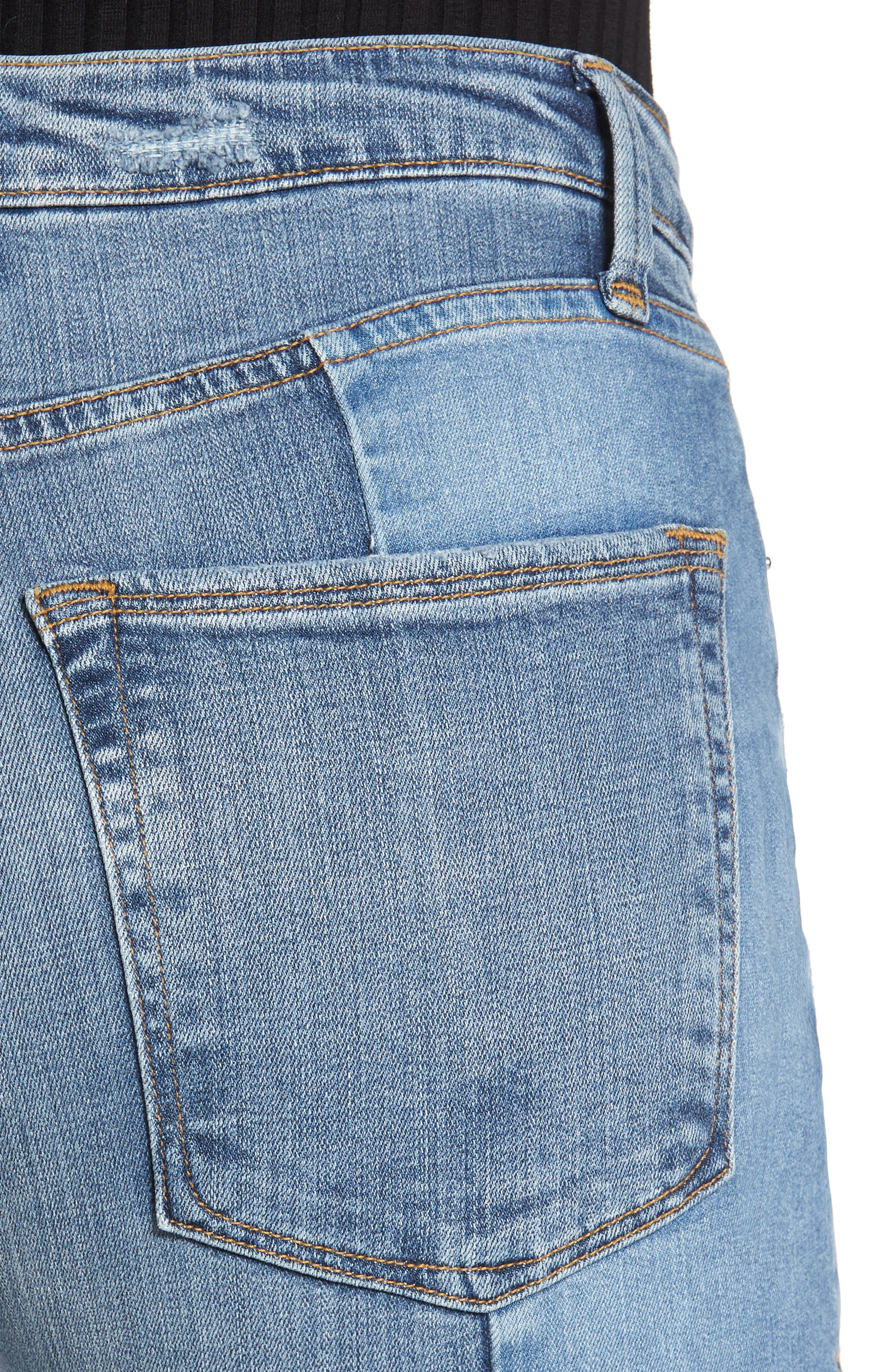 Alternate Image 4  - Good American Raw Hem High Waist Skinny Jeans (Blue 078) (Extended Sizes)