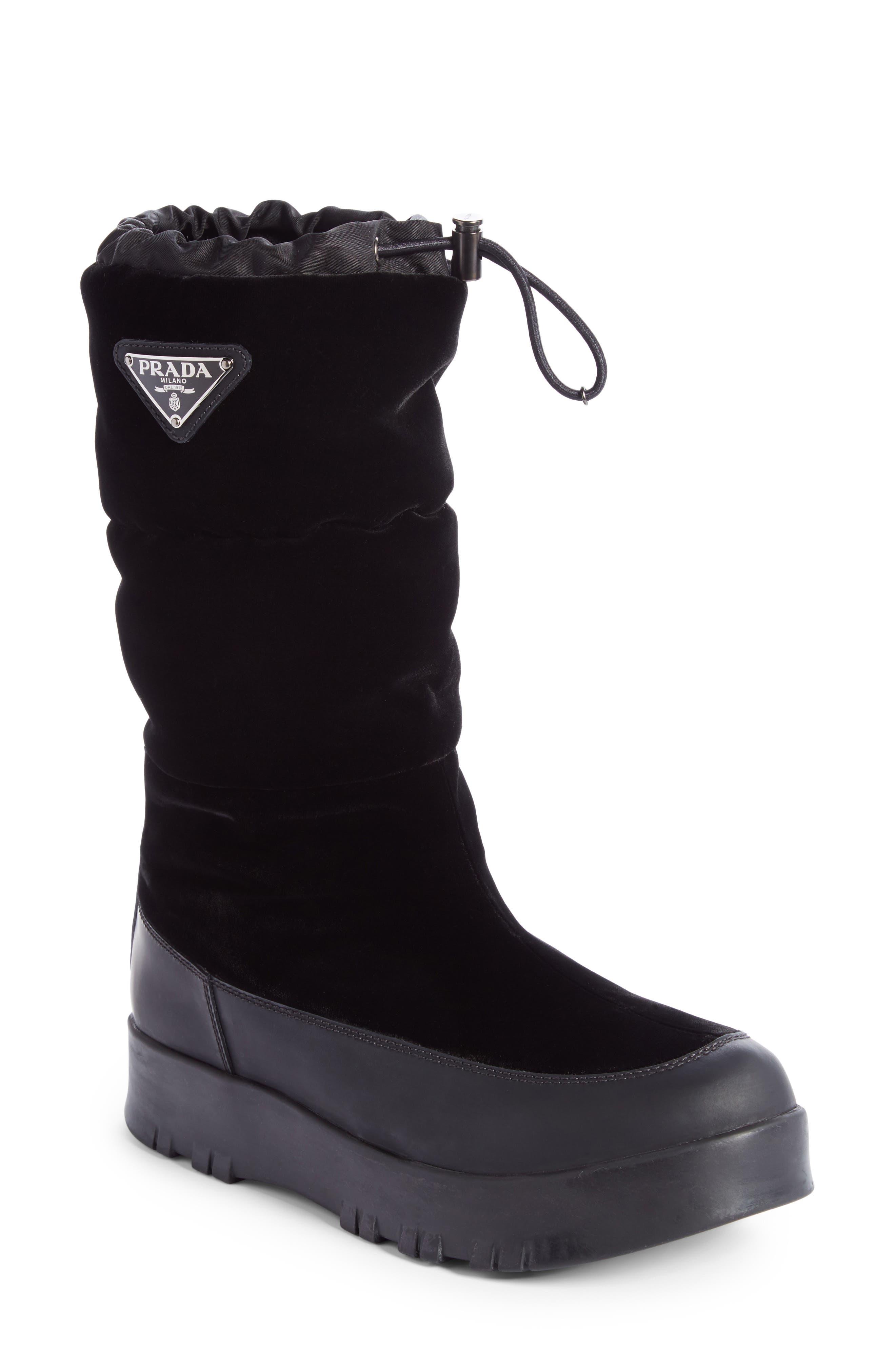 Prada Linea Rossa Logo Flatform Snow Boot (Women)