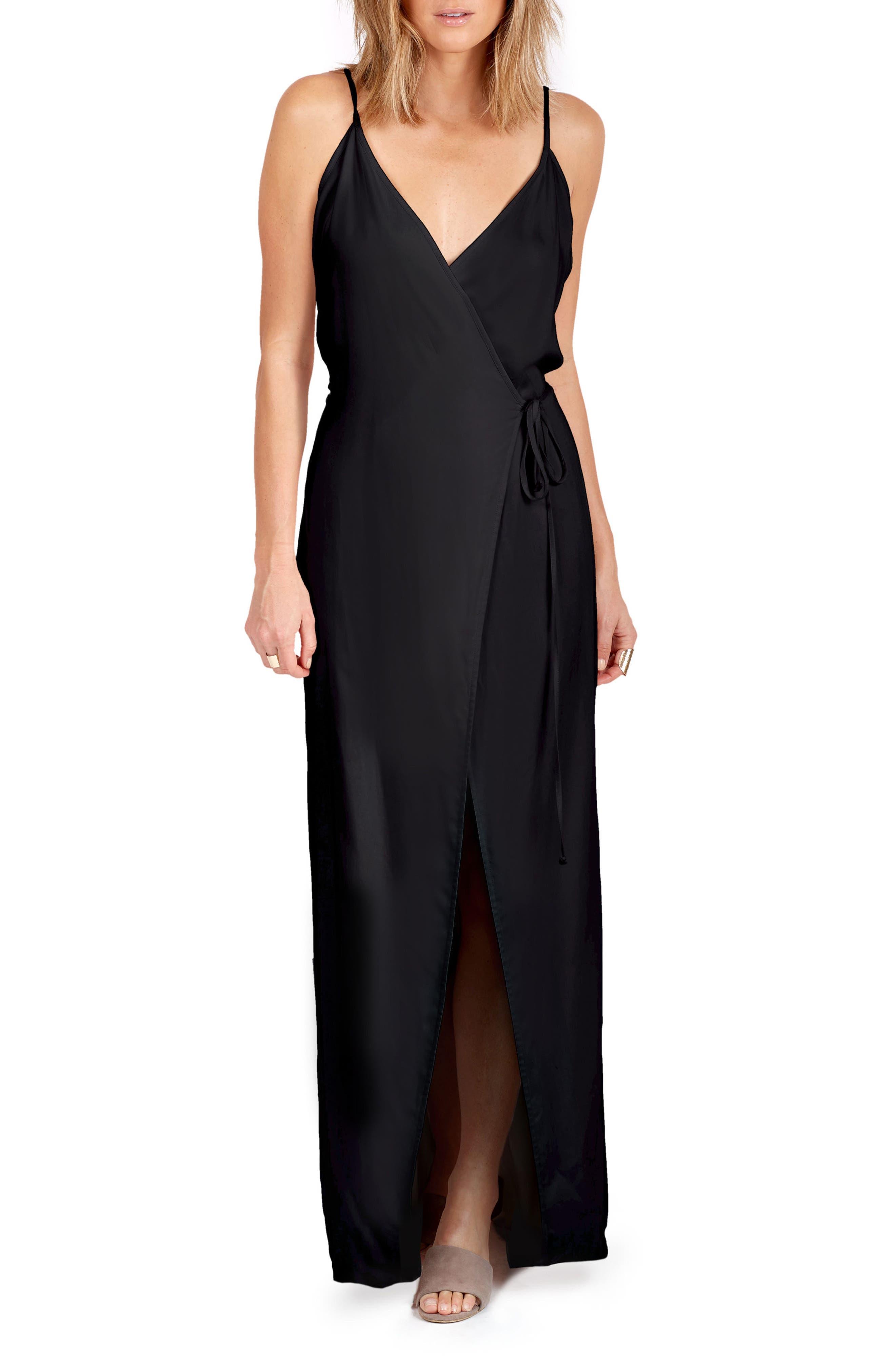 Leo Wrap Maxi Dress,                         Main,                         color, Black Solid