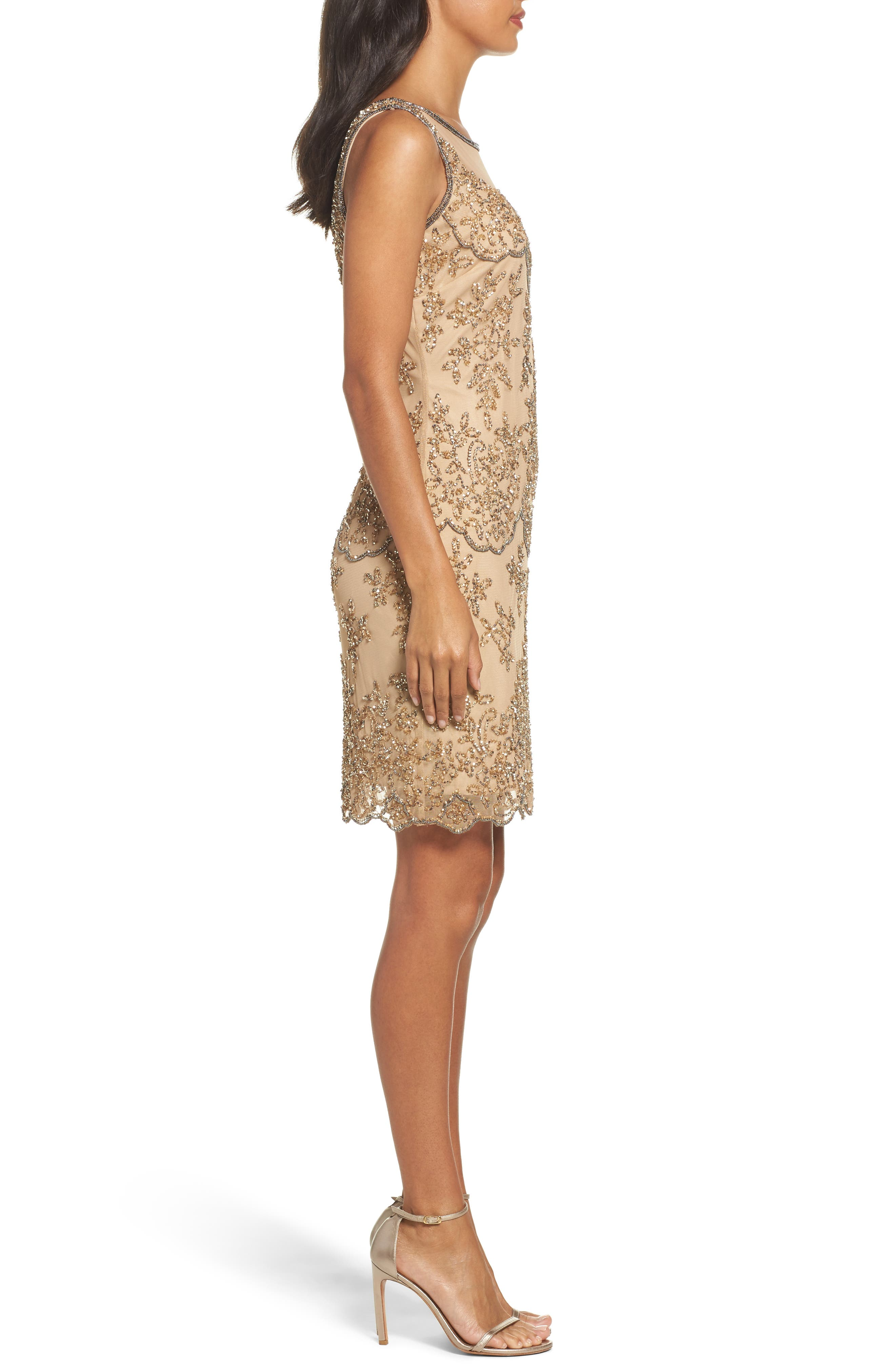 Embellished Dress,                             Alternate thumbnail 3, color,                             Champagne
