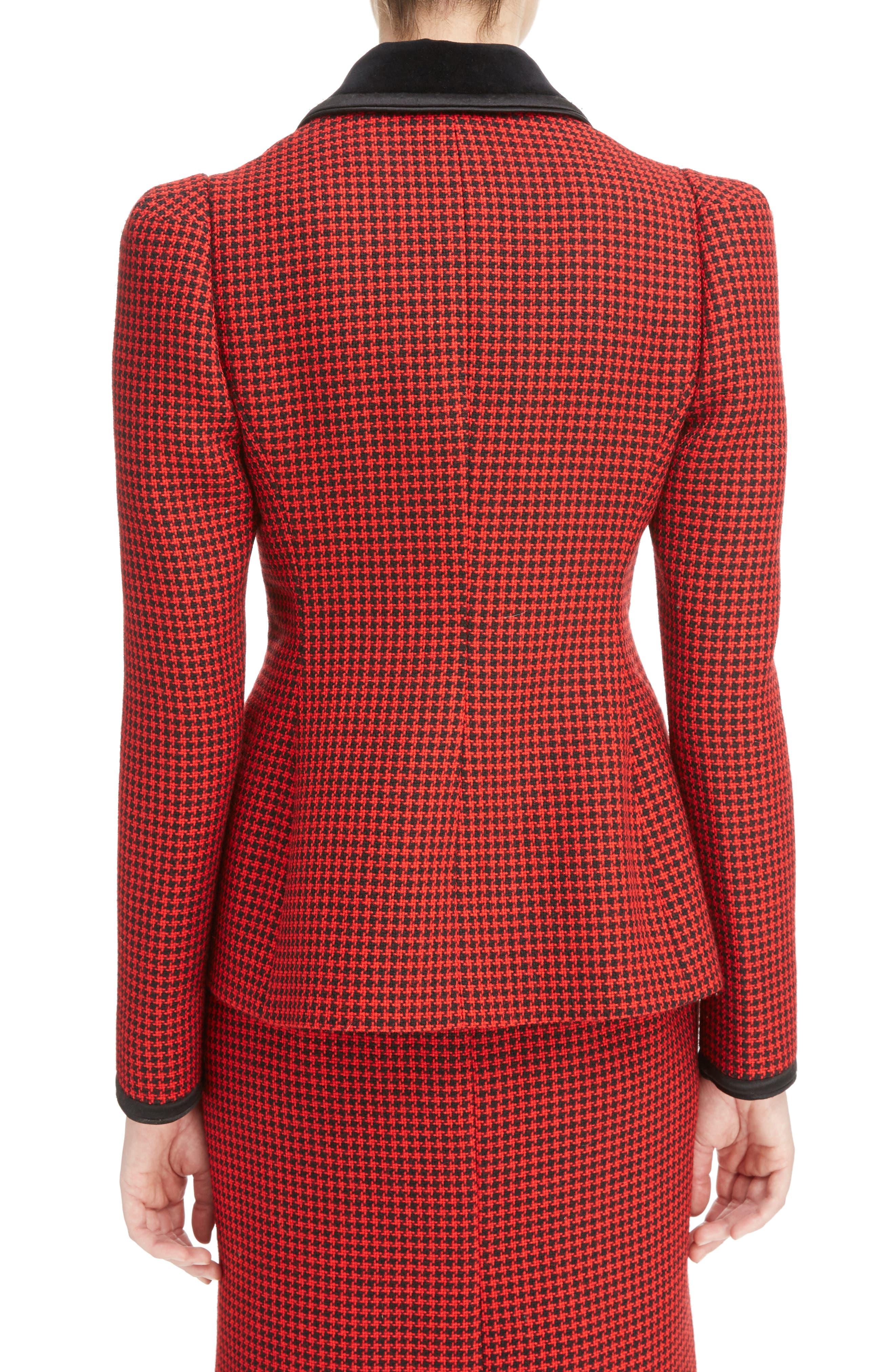 Paladini Houndstooth Wool Jacket,                             Alternate thumbnail 2, color,                             Scarlet/ Black