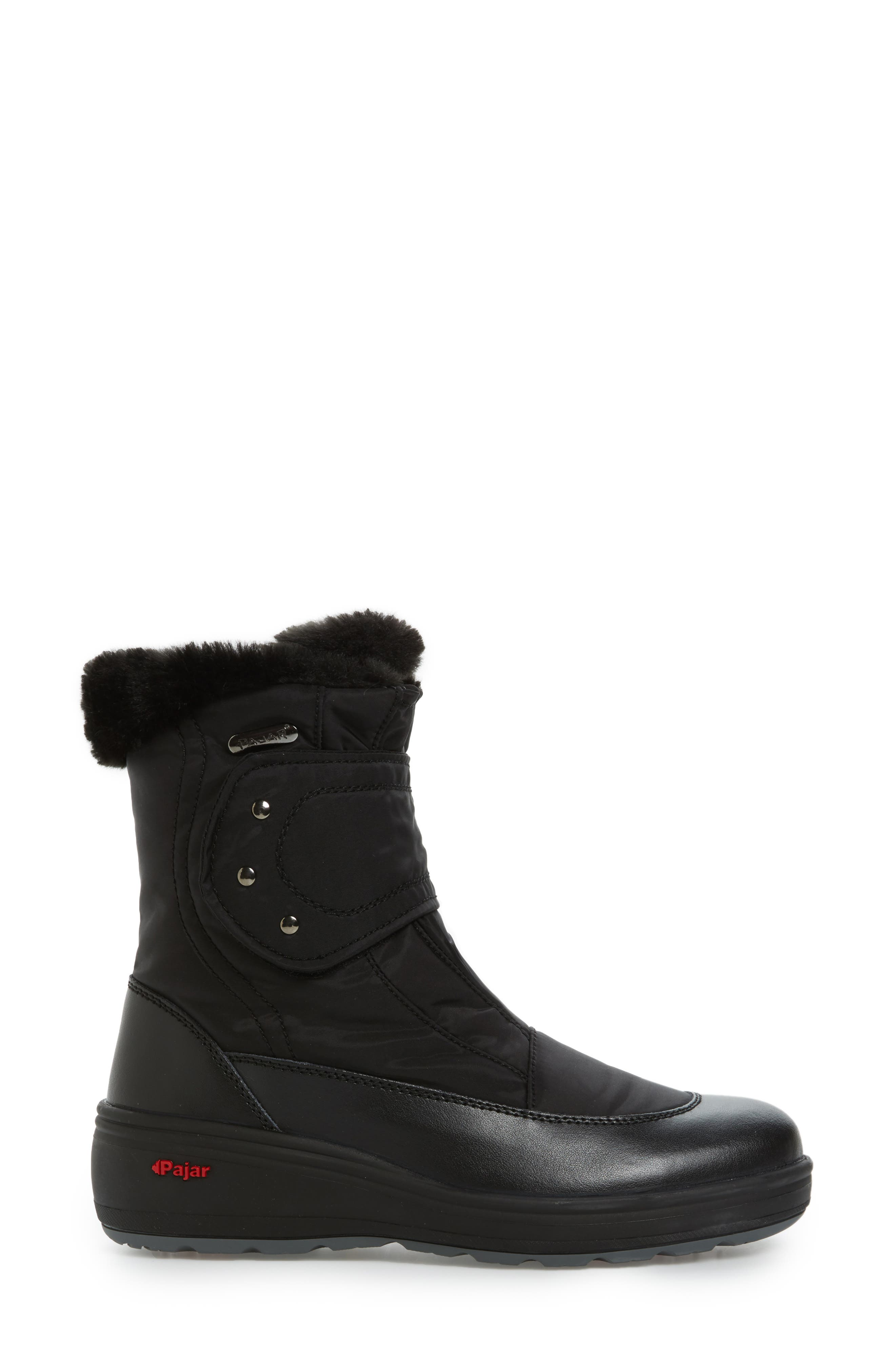 Samara Waterproof Insulated Boot with Faux Fur Lining,                             Alternate thumbnail 3, color,                             Black Leather