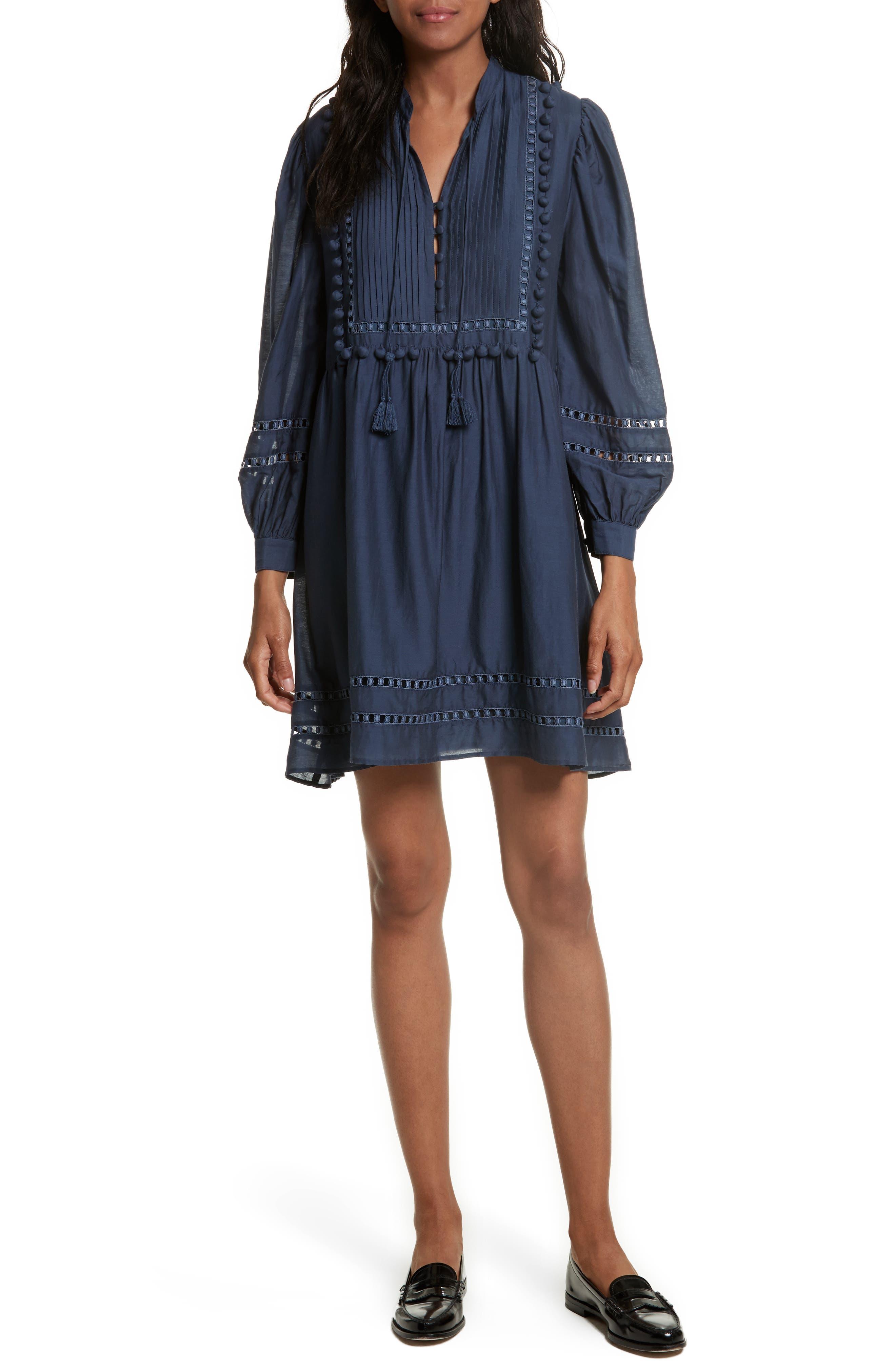Pompom Cotton & Silk Tunic Dress,                         Main,                         color, Blue