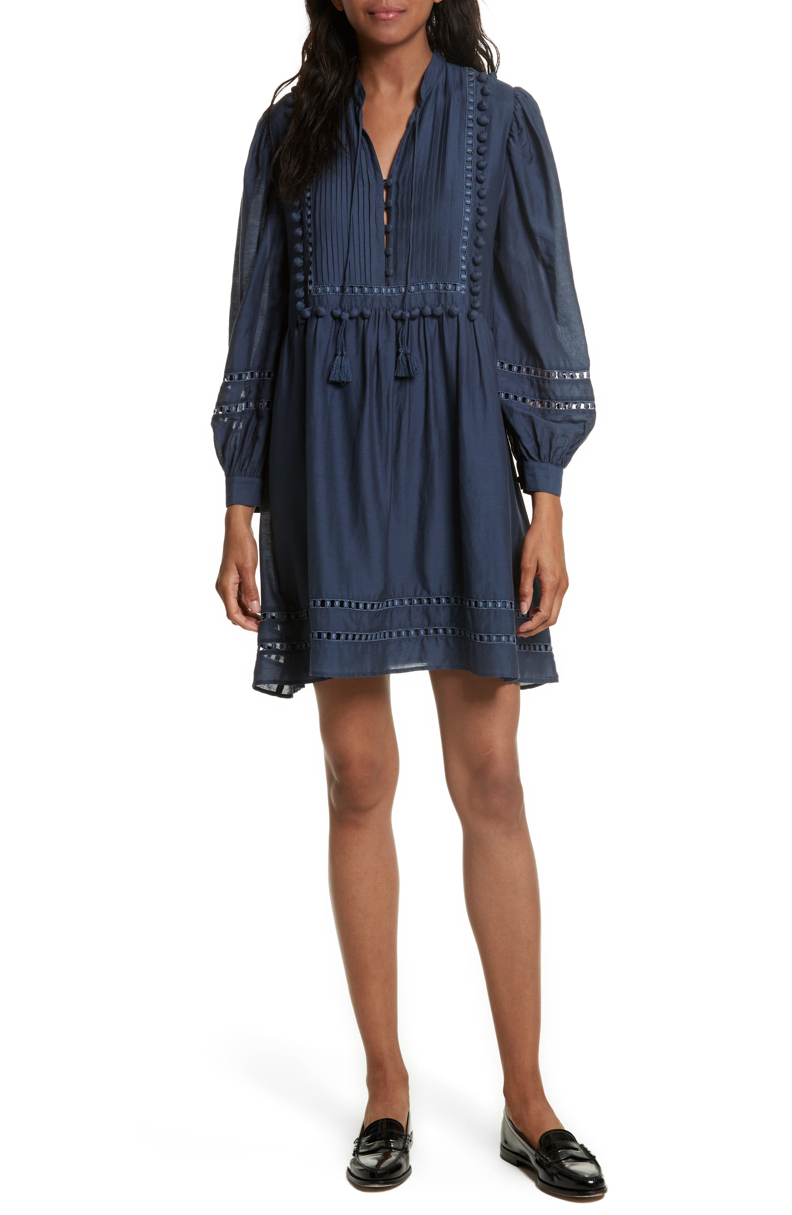 Sea Pompom Cotton & Silk Tunic Dress