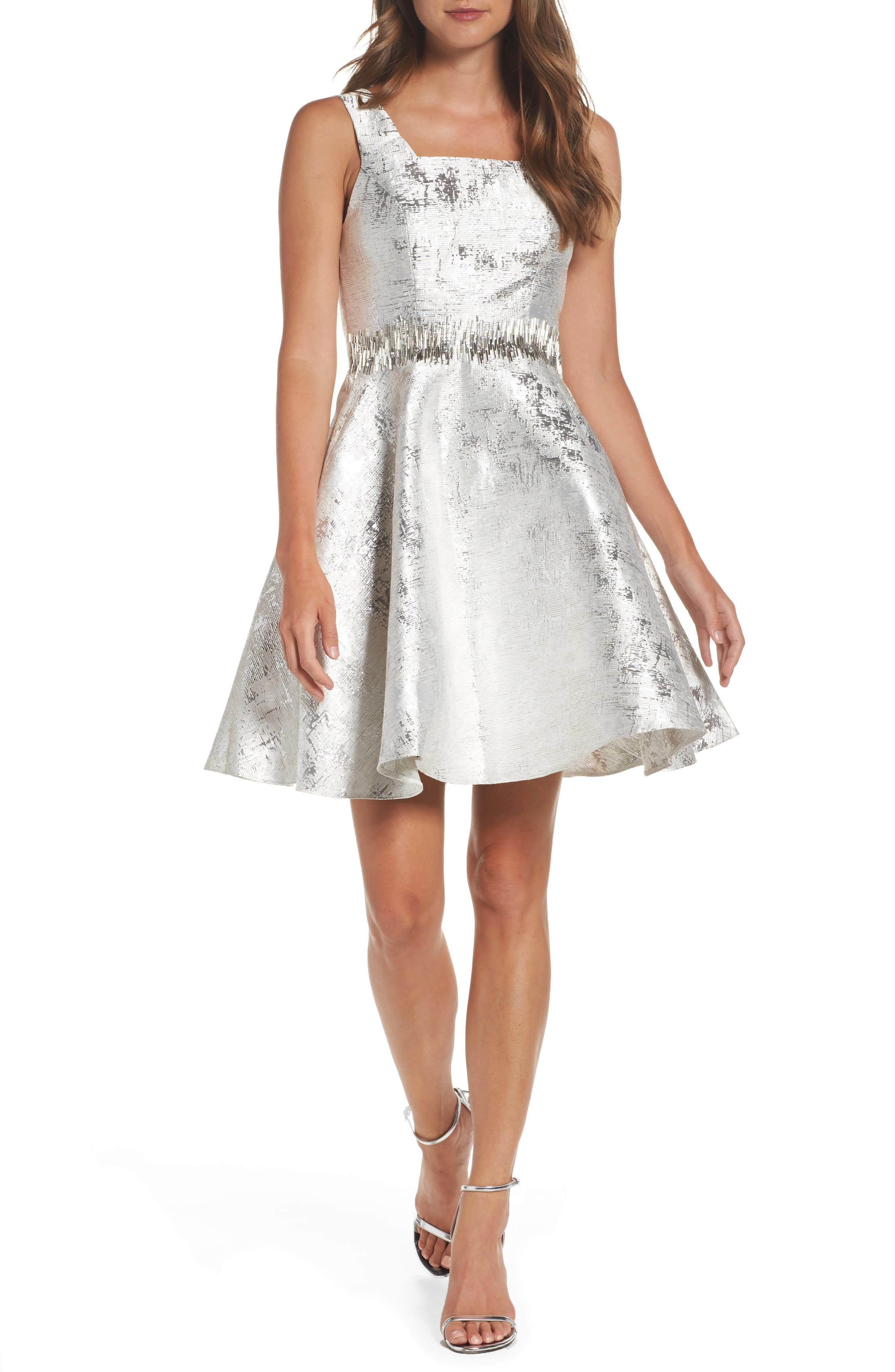 Embellished Metallic Fit & Flare Dress,                         Main,                         color, Silver