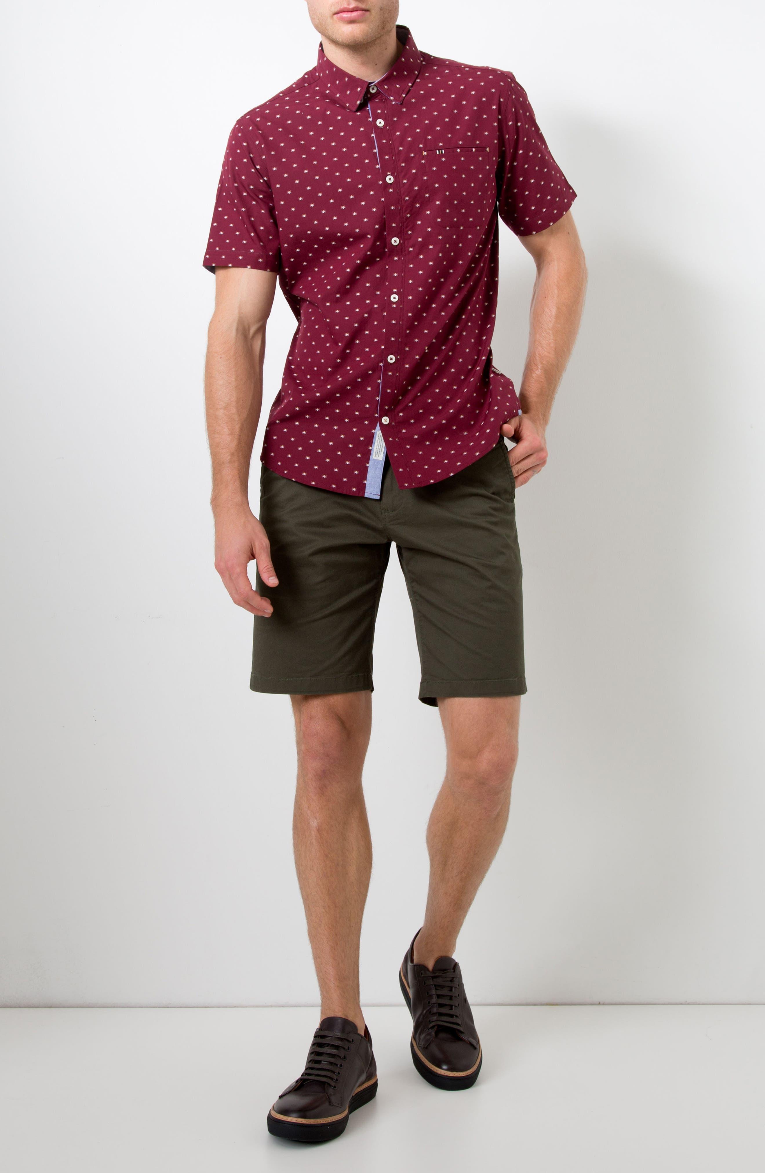 Star Quality Dobby Woven Shirt,                             Alternate thumbnail 5, color,                             Burgundy
