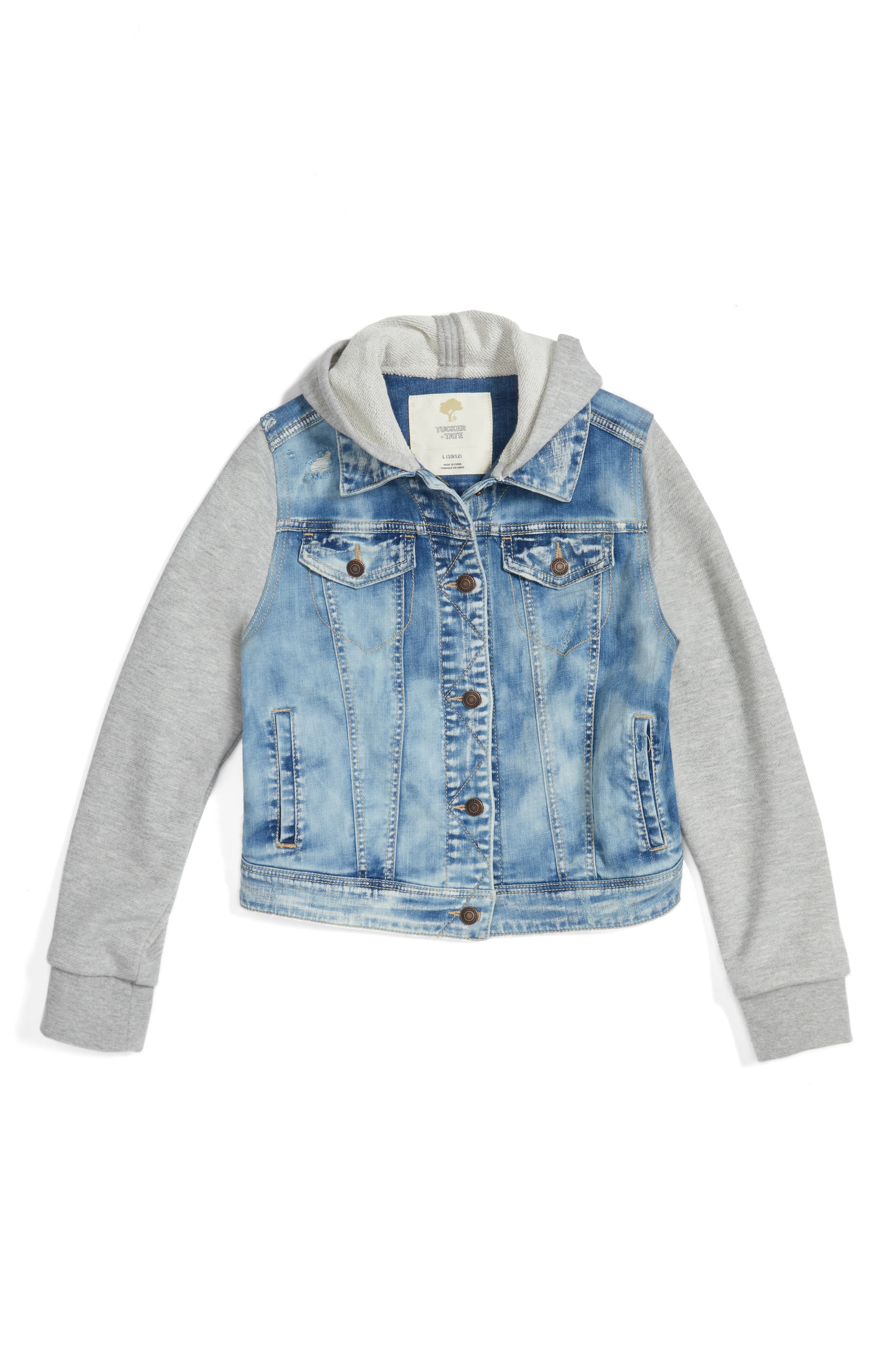 Alternate Image 1 Selected - Tucker + Tate Mixed Media Jacket (Big Girls)