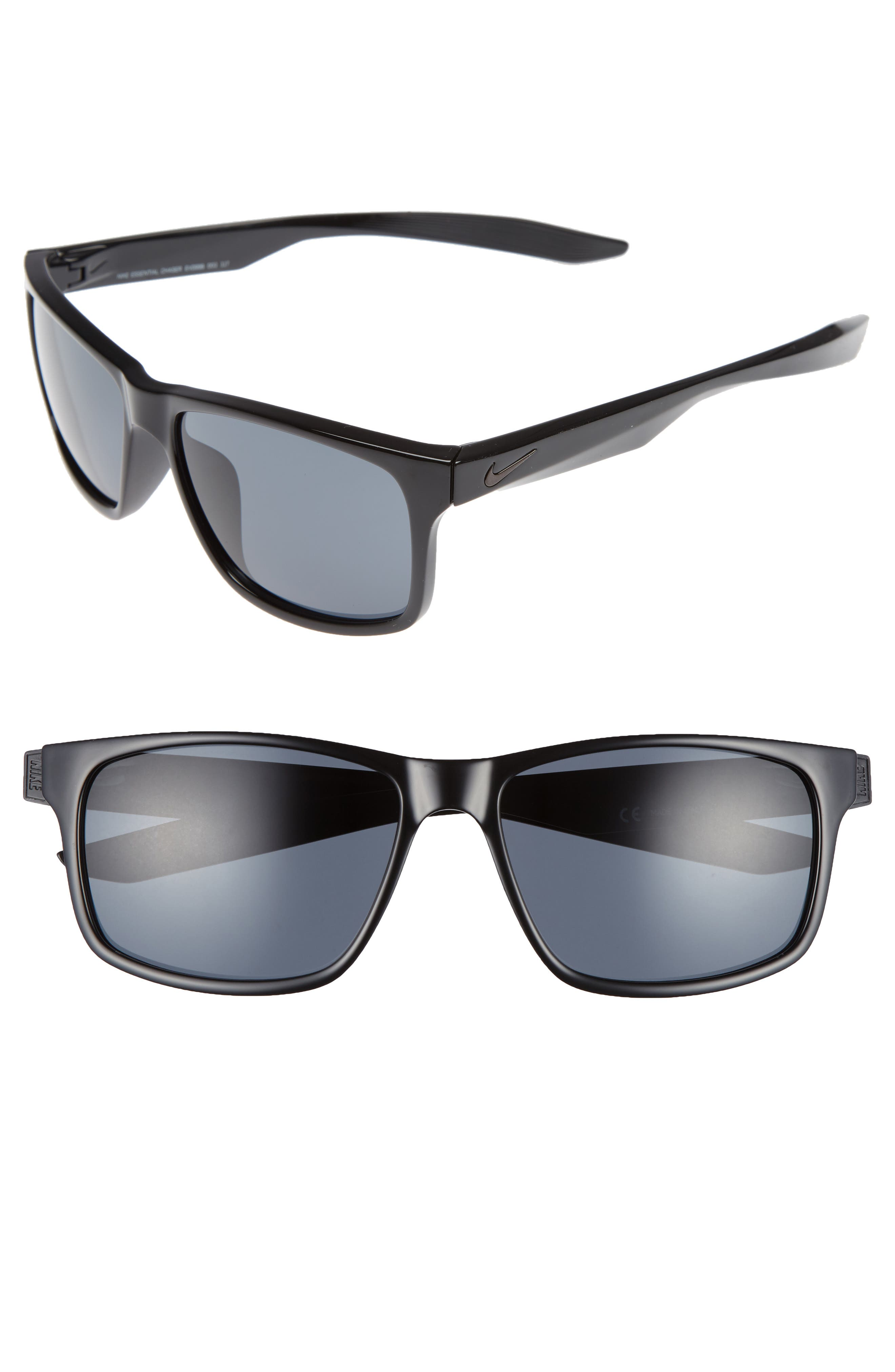 Essential Chaser 56mm Sunglasses,                         Main,                         color, Black