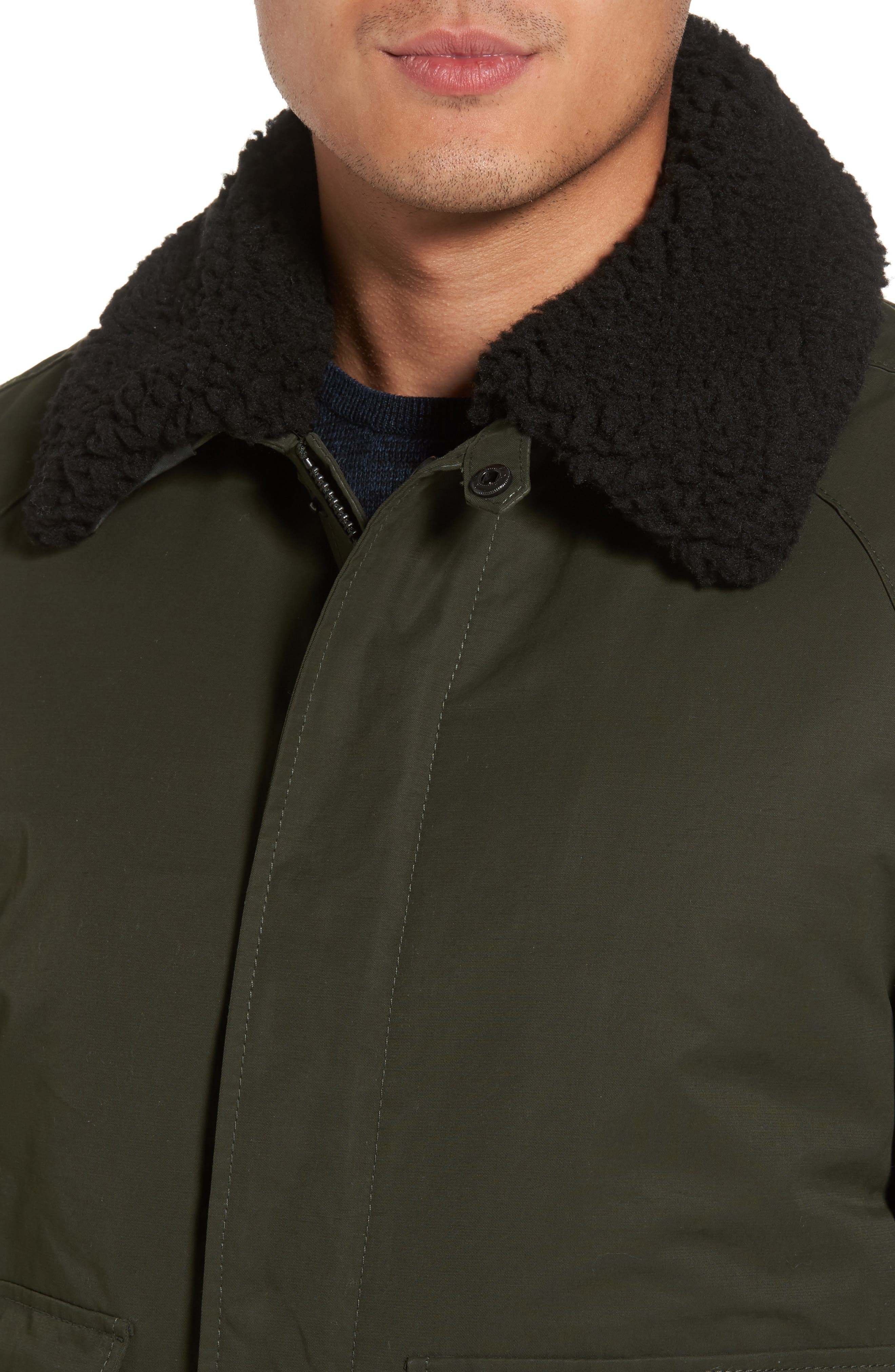 Flight Bomber Jacket with Faux Shearling Trim,                             Alternate thumbnail 4, color,                             Green Forest