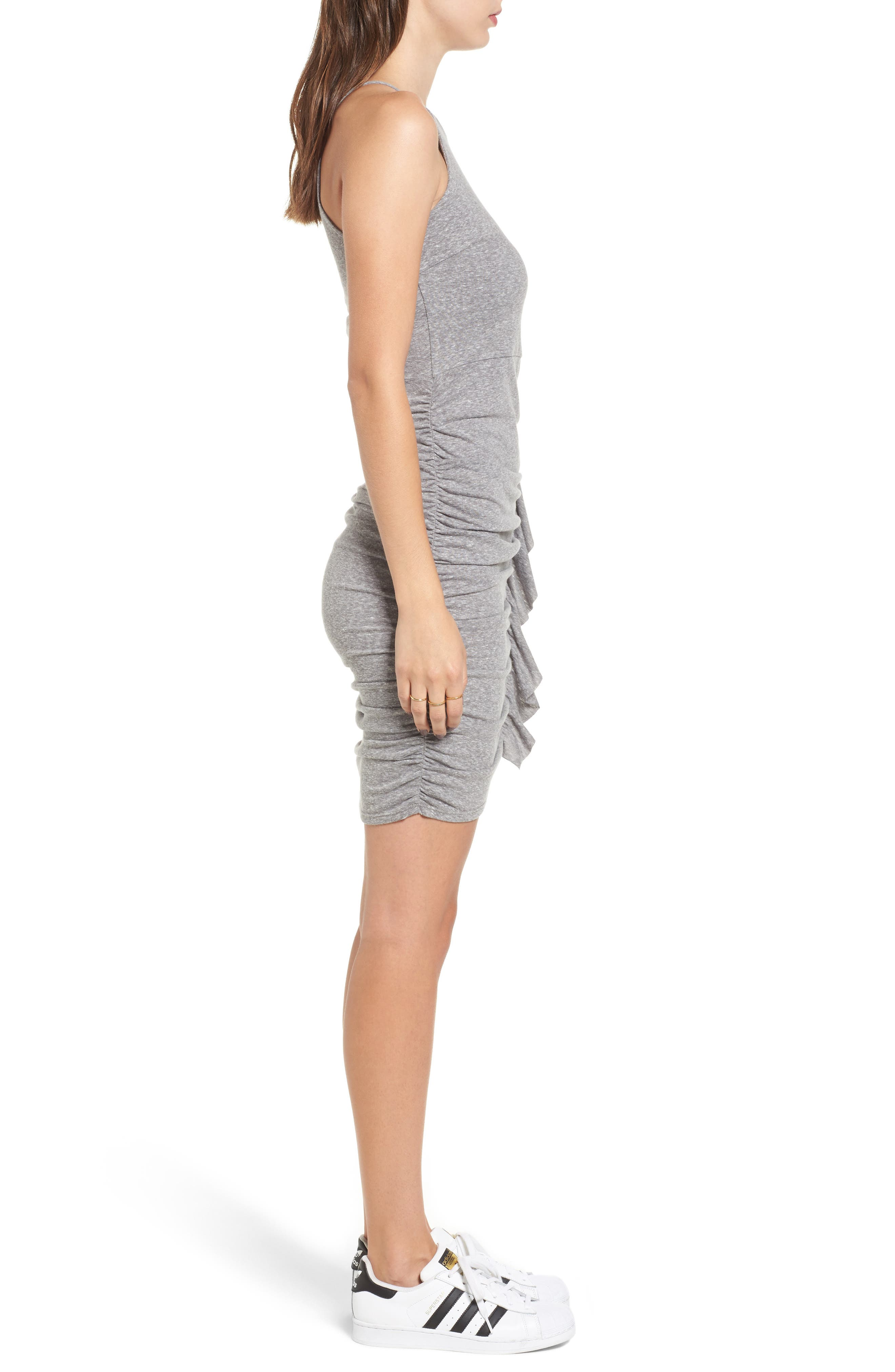 Gathered Front Body-Con Dress,                             Alternate thumbnail 3, color,                             004 H. Grey
