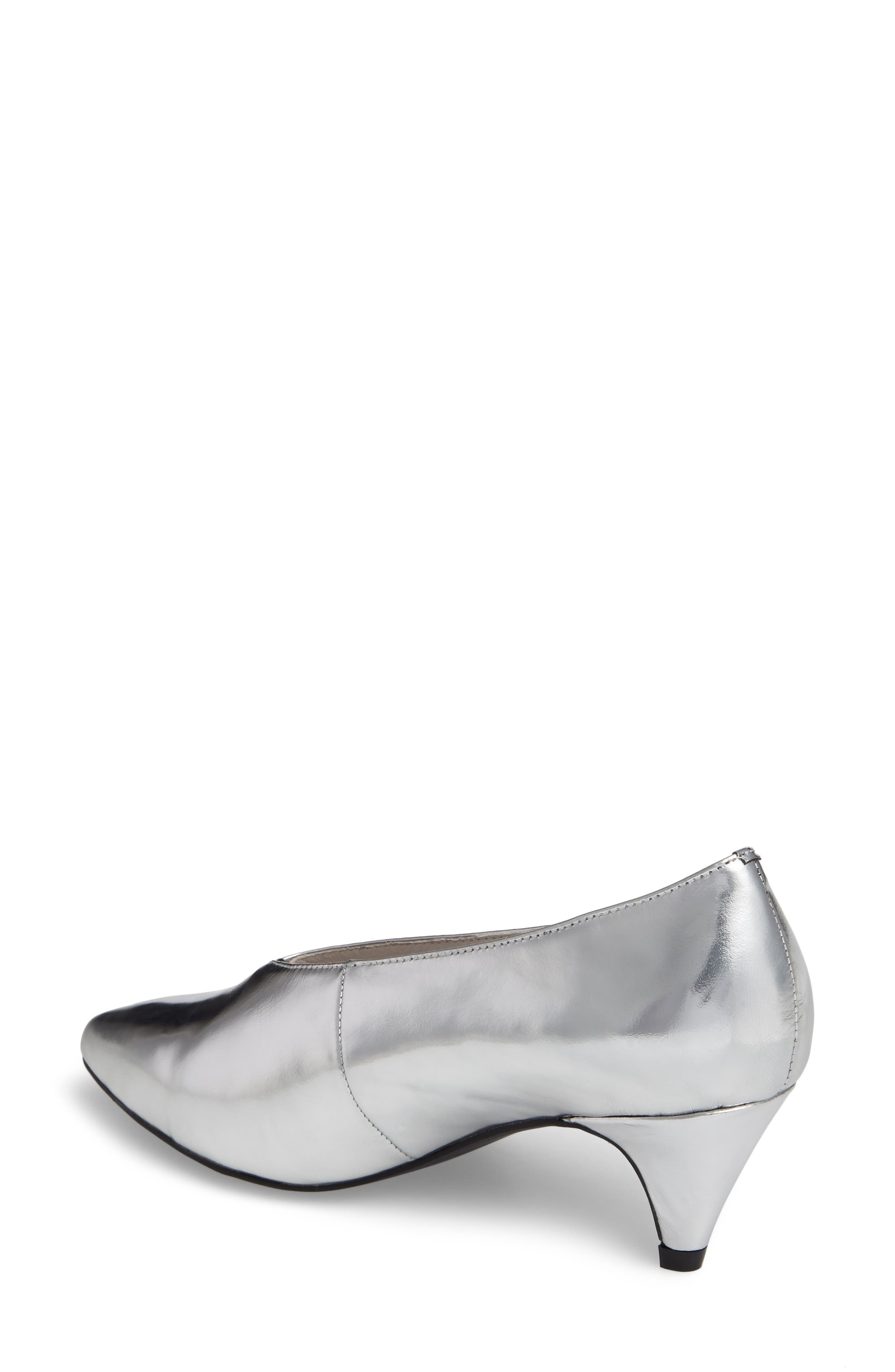 'Carla' Pointy Toe Pump,                             Alternate thumbnail 2, color,                             Silver Crinkle Metallic