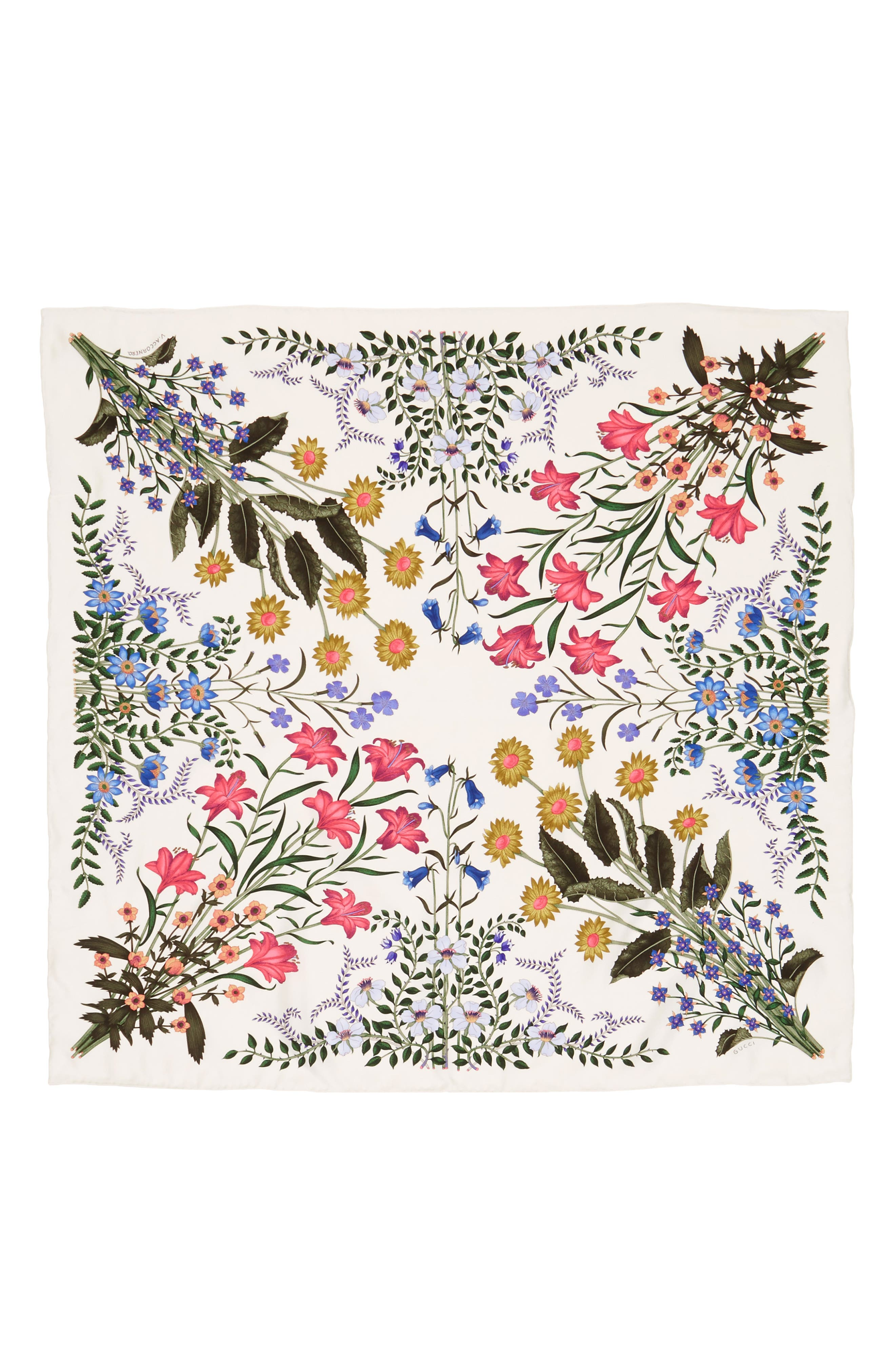 Alternate Image 1 Selected - Gucci New Flora Silk Scarf